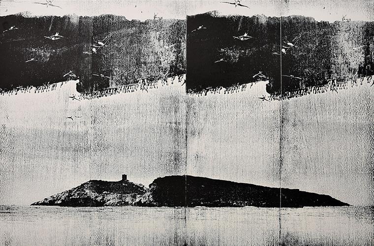"""Callao""; woodcut, lasercollage; 50x76cm; 2017; Genaro Strobel"