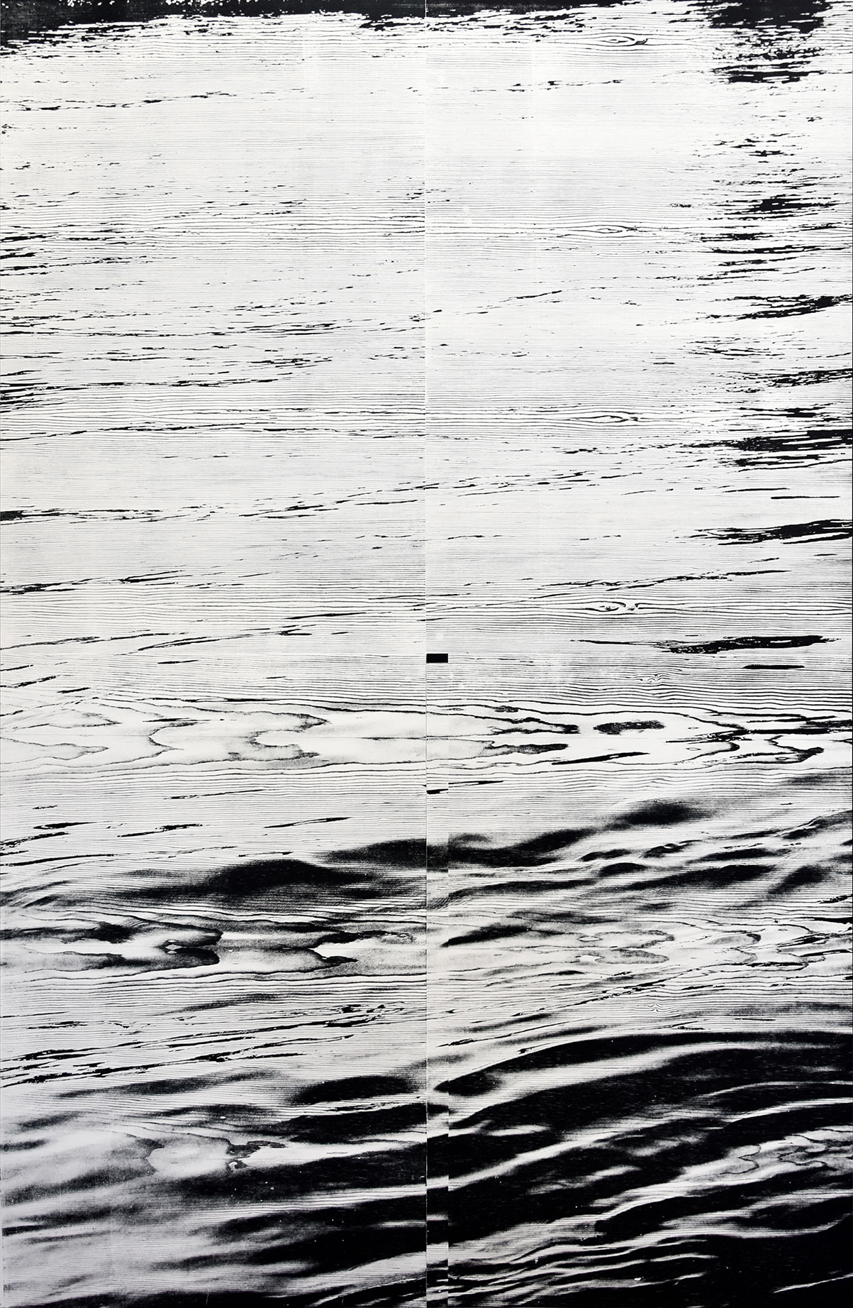 """Rhein II""; woodcut, laserphotography; 184,3x120,3cm; 2018; Genaro Strobel"