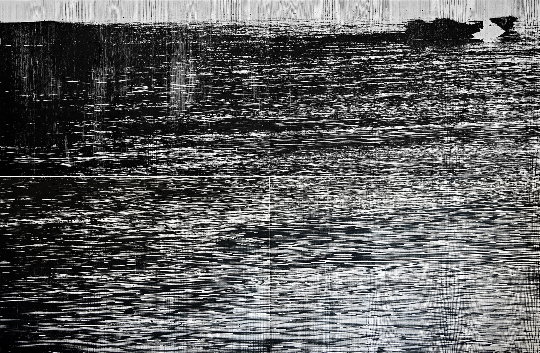 """Rhein IIII""; woodcut, laserphotography; 120,3x184,1; 2018; Genaro Strobel"