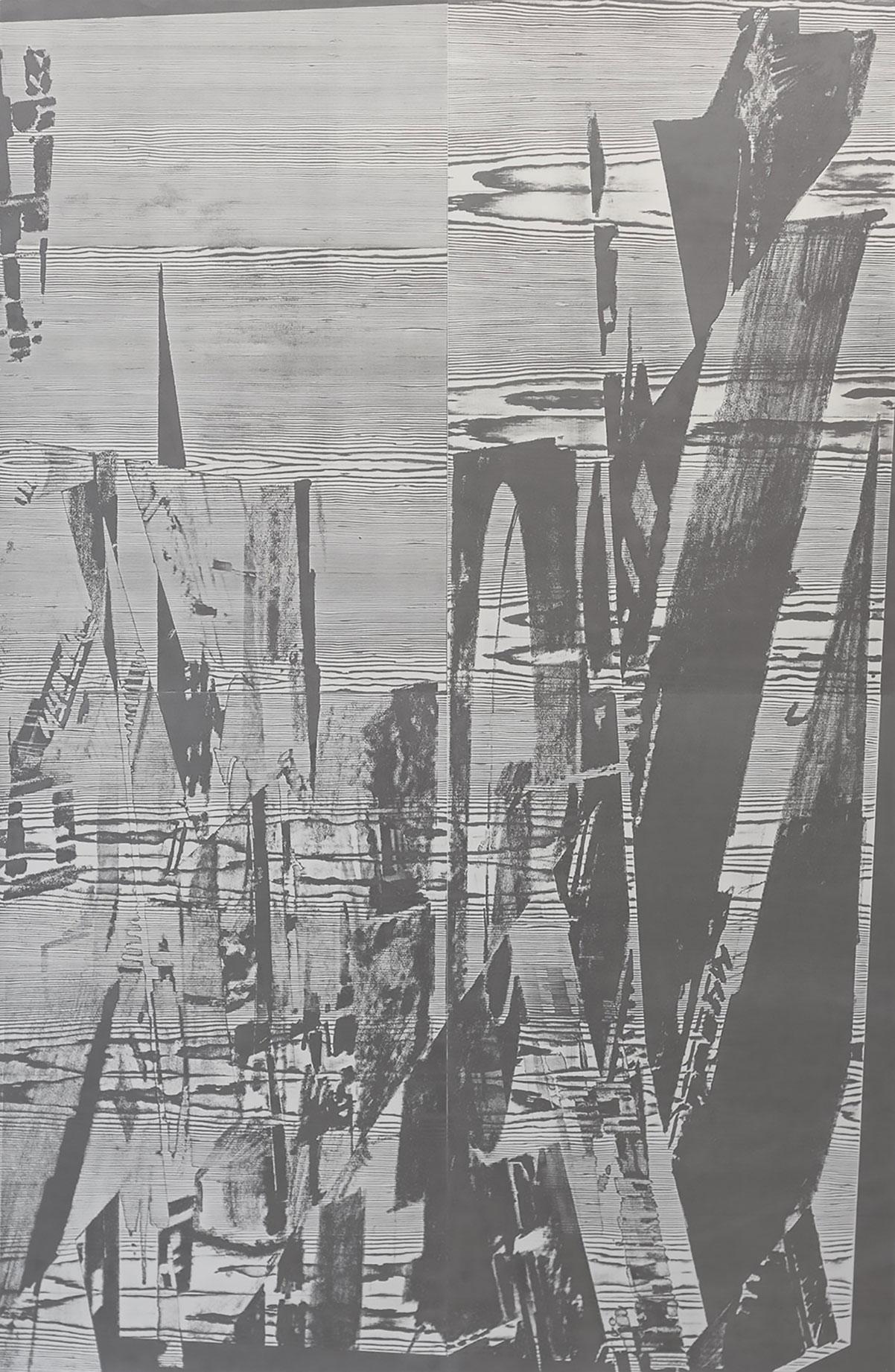 """""""liorue s""""; woodcut, laserdrawing; 184,2x120,2cm; 2018; Genaro Strobel"""