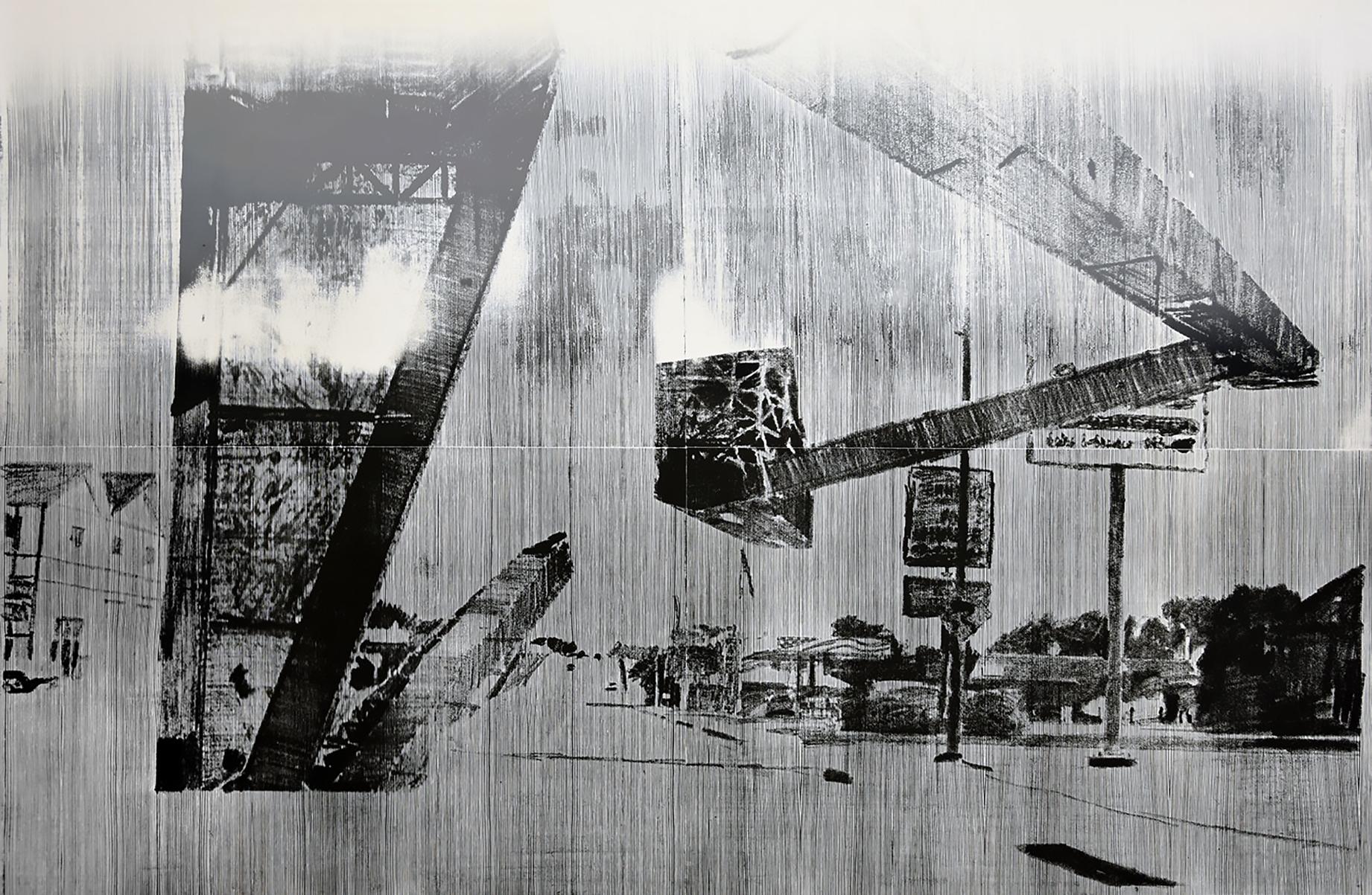 """sanborn""; woodcut, laserdrawing; 120,3x184,2cm; 2018; Genaro Strobel"