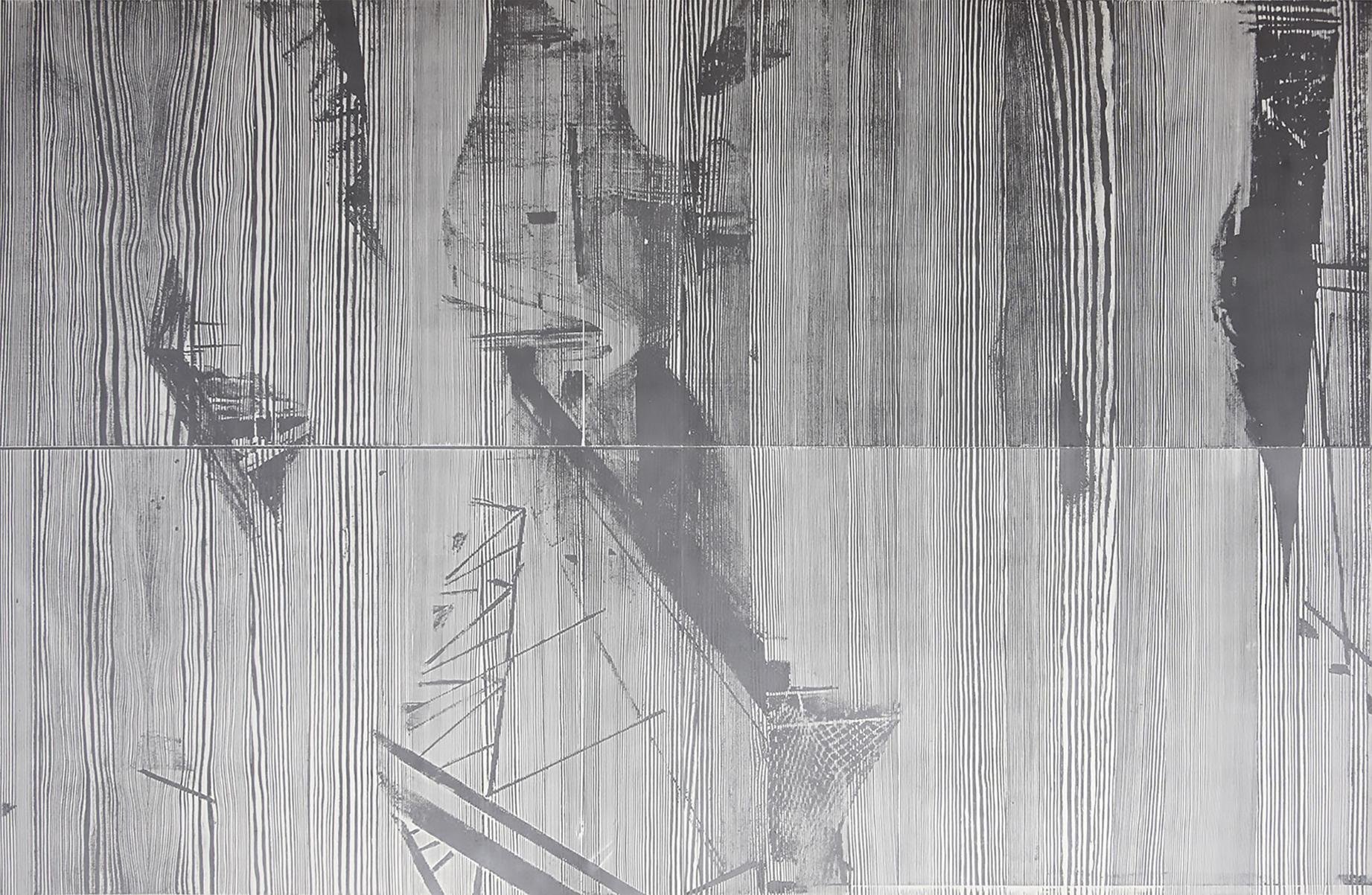 """""""yoib""""; woodcut, laserdrawing; 120,2x184,3cm; 2018; Genaro Strobel"""