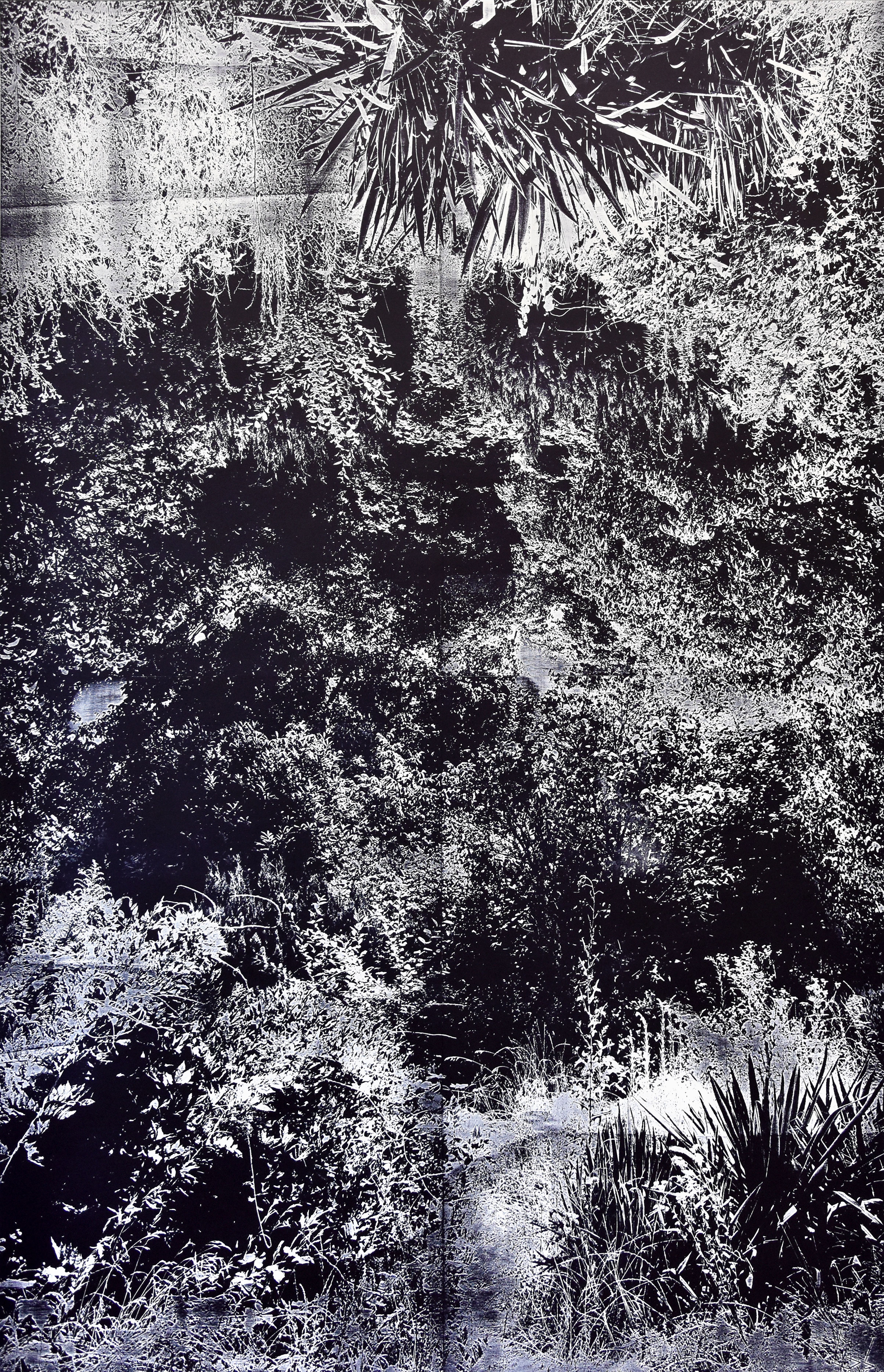 """5rounds""; woodcut, lasercollage; 186,8x120,4cm; 2018 Genaro Strobel"