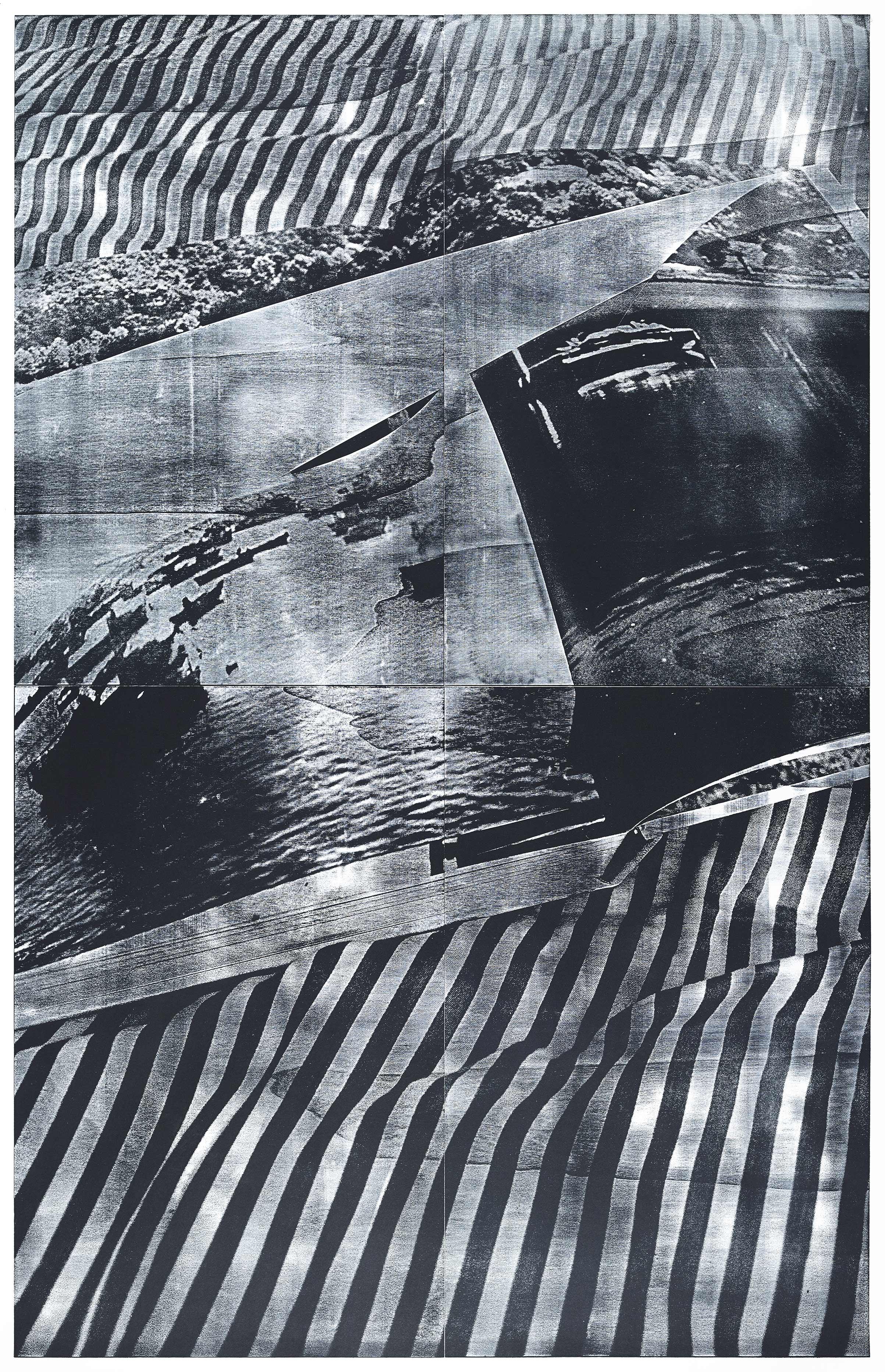 """Eden""; woodcut, lasercollage; 186,4×120,3cm; 2018 Genaro Strobel"