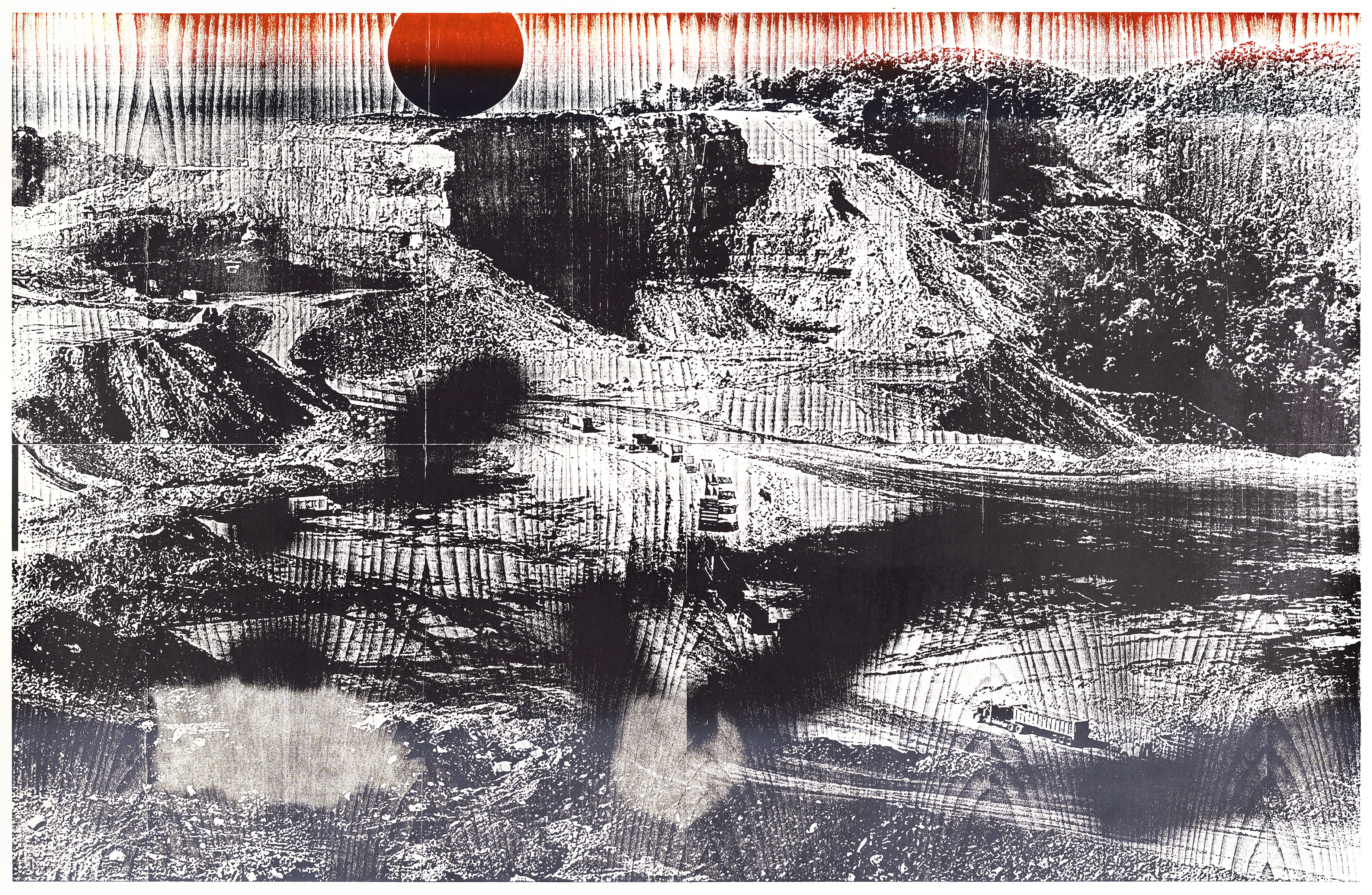 """Mine 1""; woodcut, lasercollage; 120,3x184,4cm; 2018 Genaro Strobel"