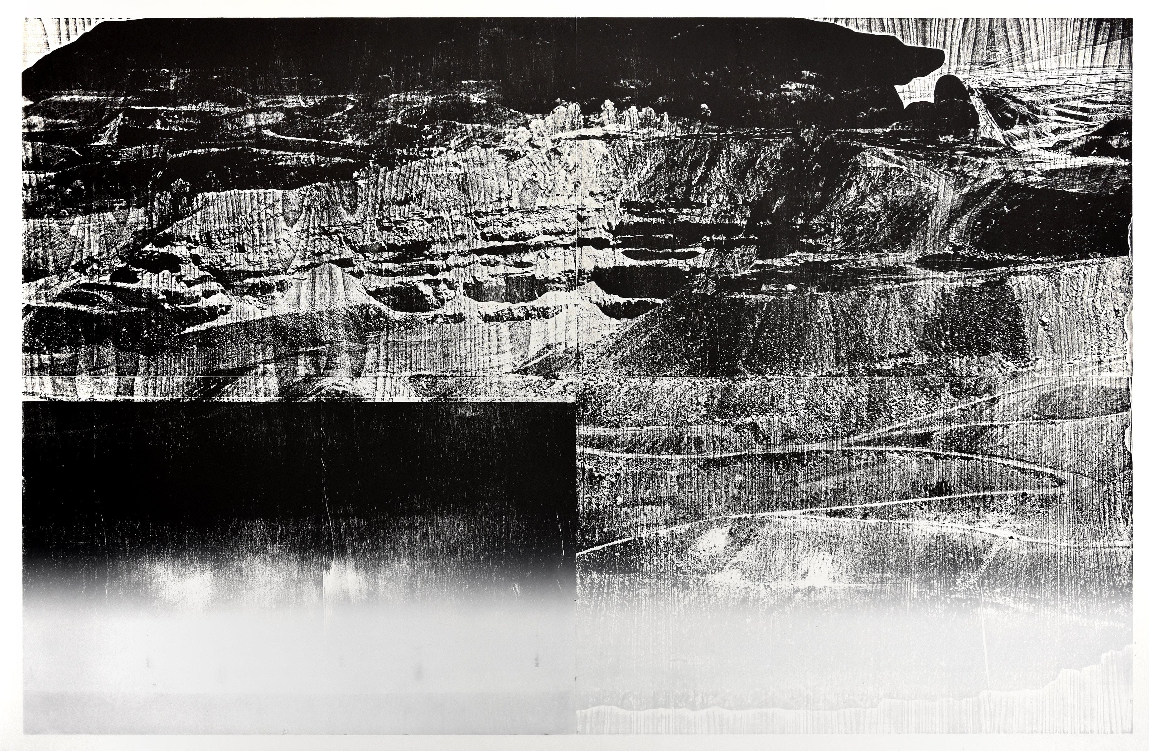 """Mine 2""; woodcut, lasercollage; 120,4x184,4cm; 2018 Genaro Strobel"