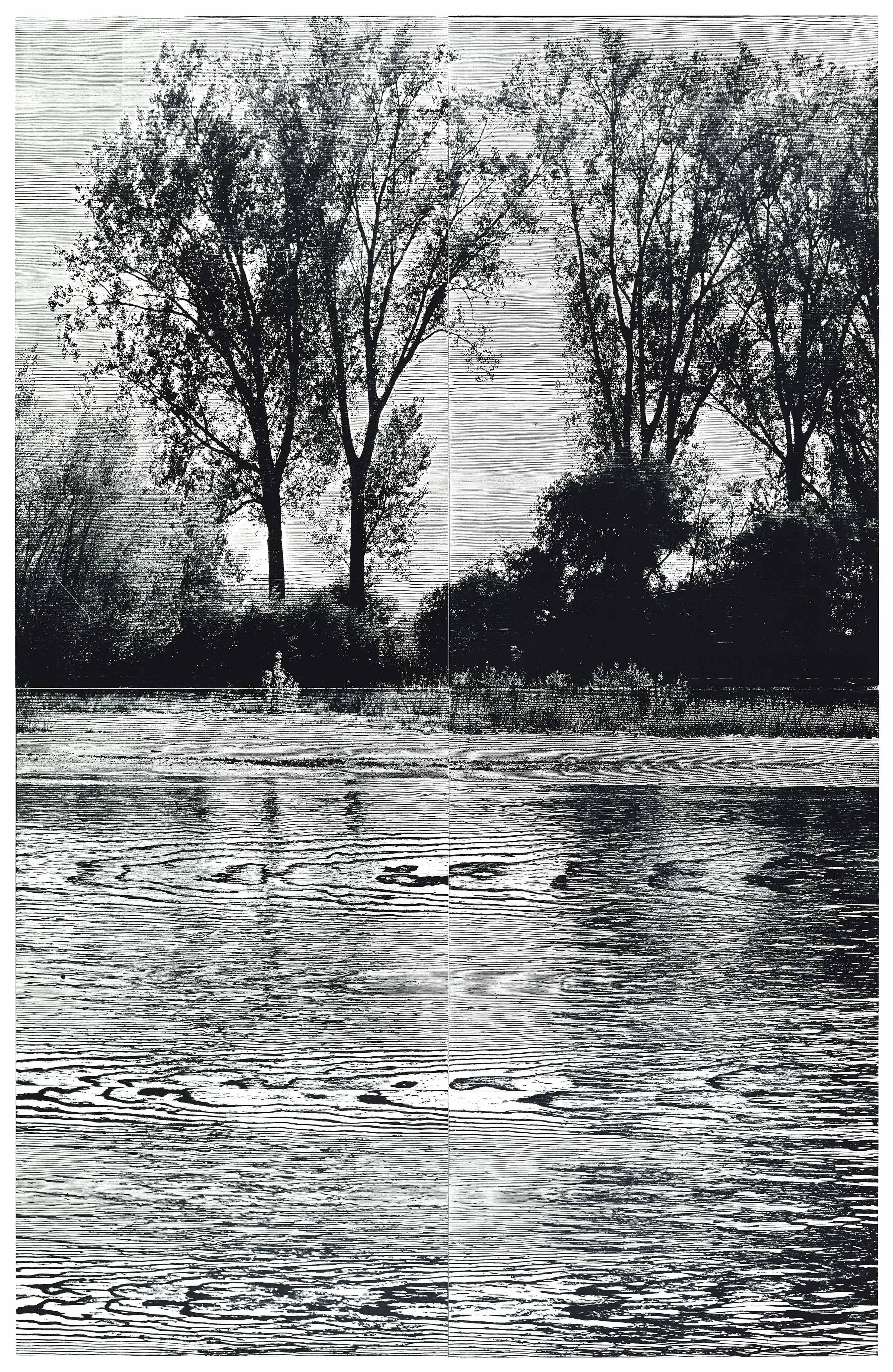 """Rhein III""; woodcut, laserphotography; 184,8x120,3cm; 2018 Genaro Strobel"