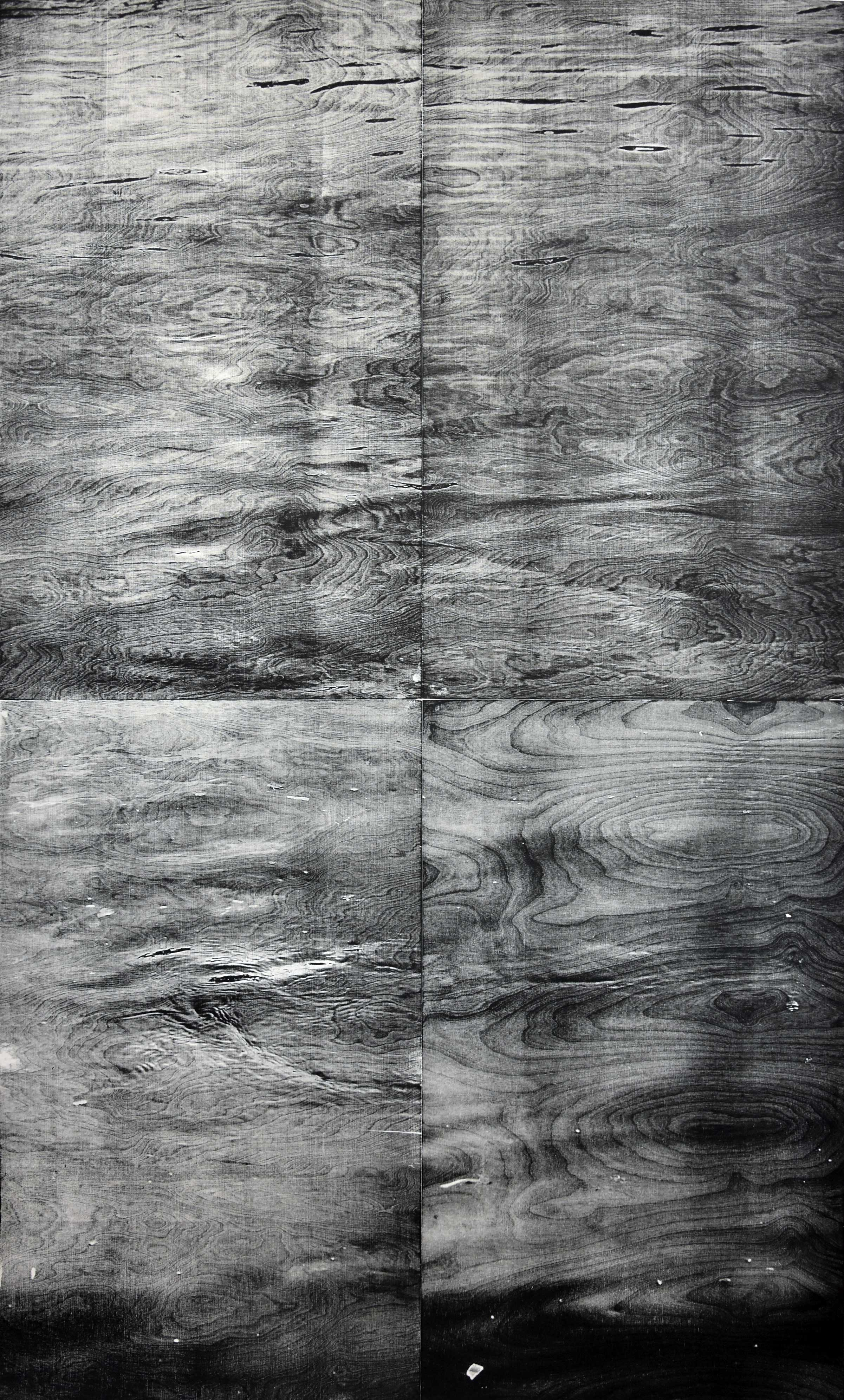 """Rhein I""; woodcut, laserphotography; 199,2x120,1cm; 2018 Genaro Strobel"