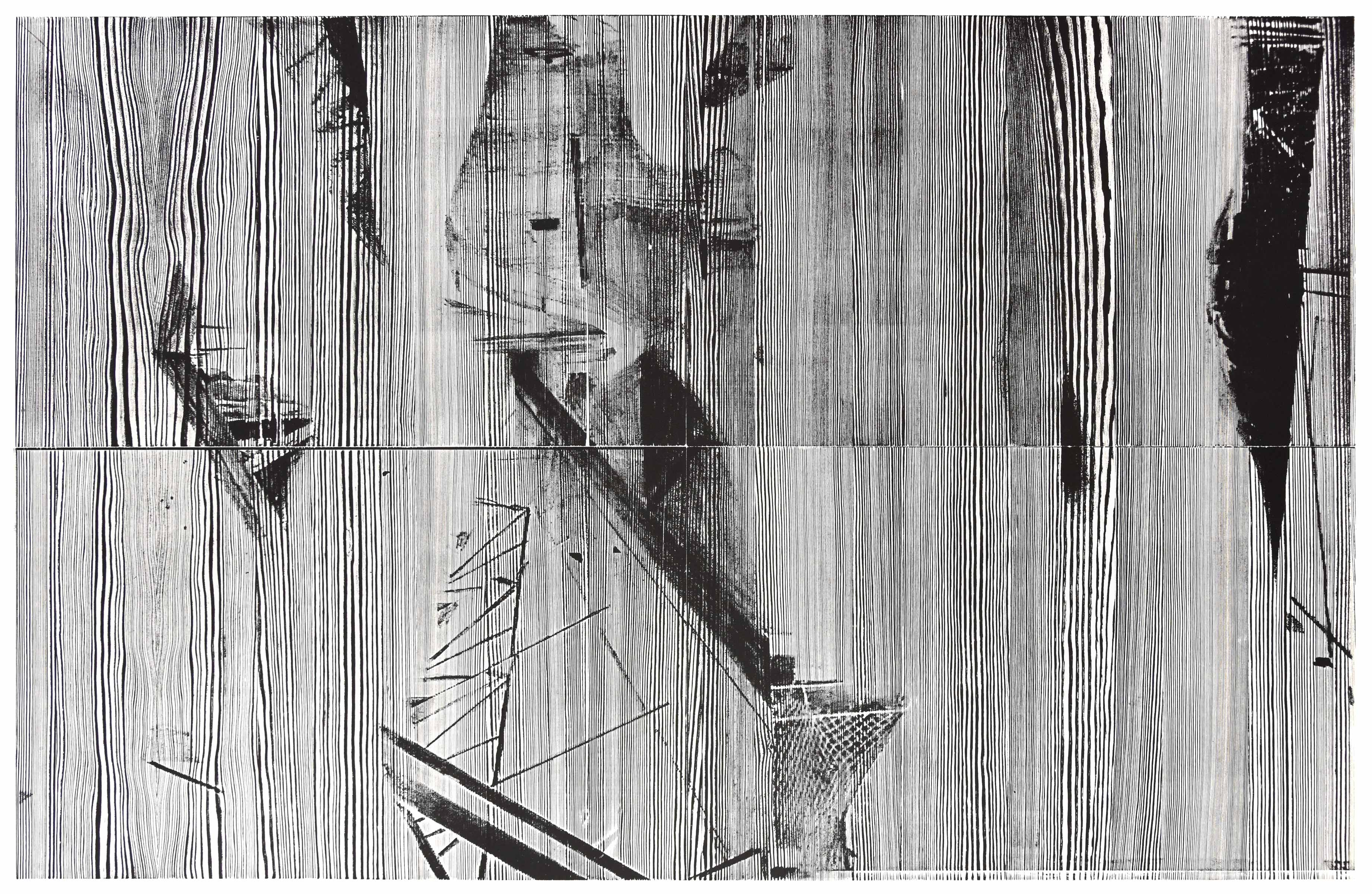 """bioy""; woodcut, laserdrawing; 120,1x184,2cm; 2018 Genaro Strobel"