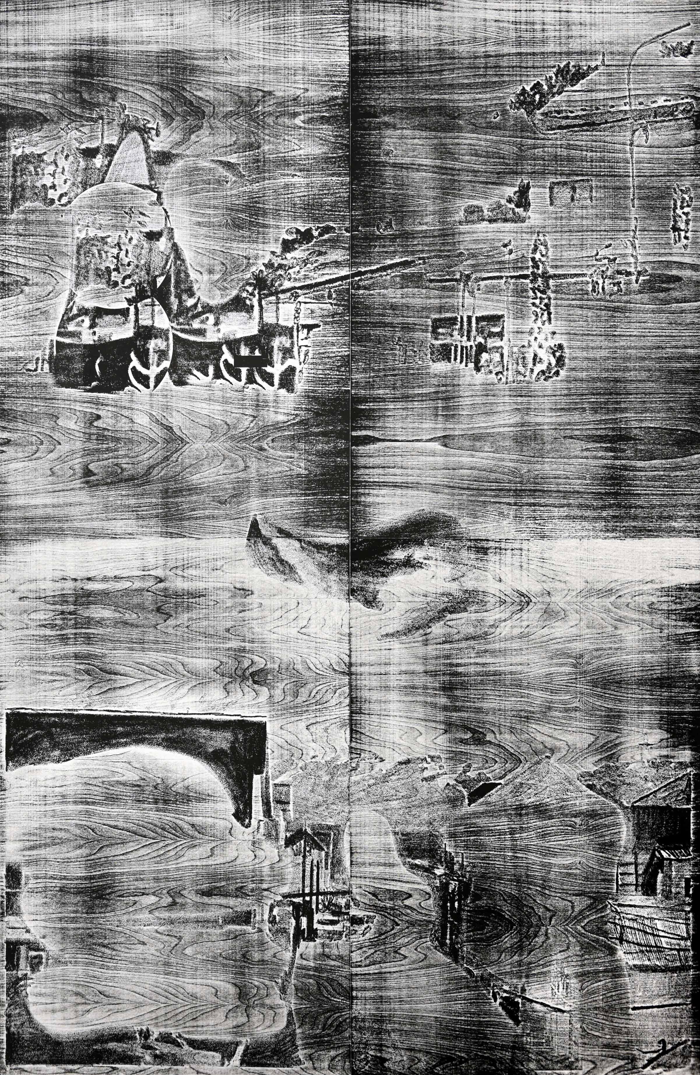 """fin del mundo maipu guarani fuegia basket""; woodcut, laserdrawing; 184,2x120,1cm; 2018 Genaro Strobel"
