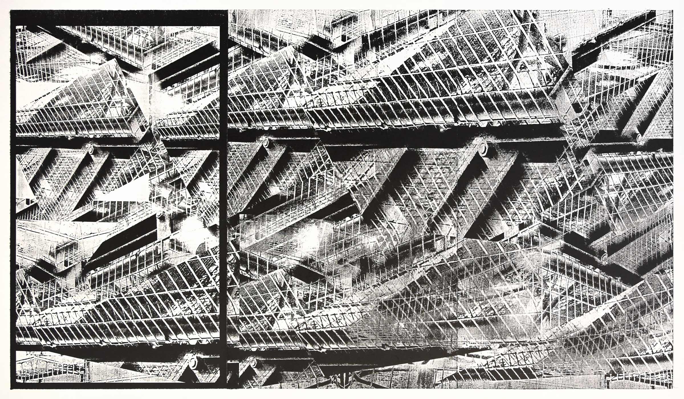 """industrial mayhem""; woodcut, lasercollage; 70x120cm; 2018 Genaro Strobel"