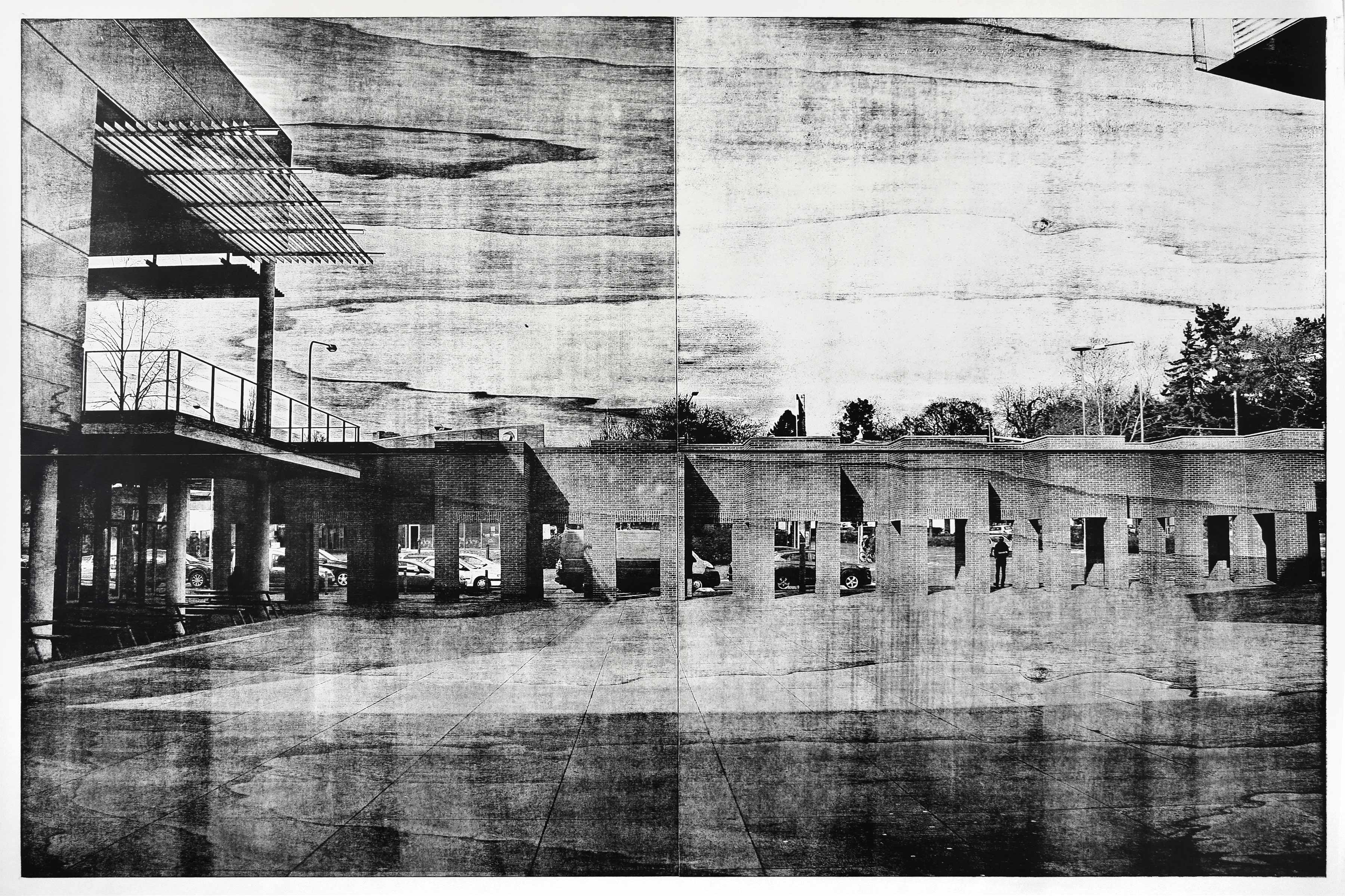 """Perspektive 1""; woodcut, laserphotography; 120x180; 2018 Genaro Strobel"