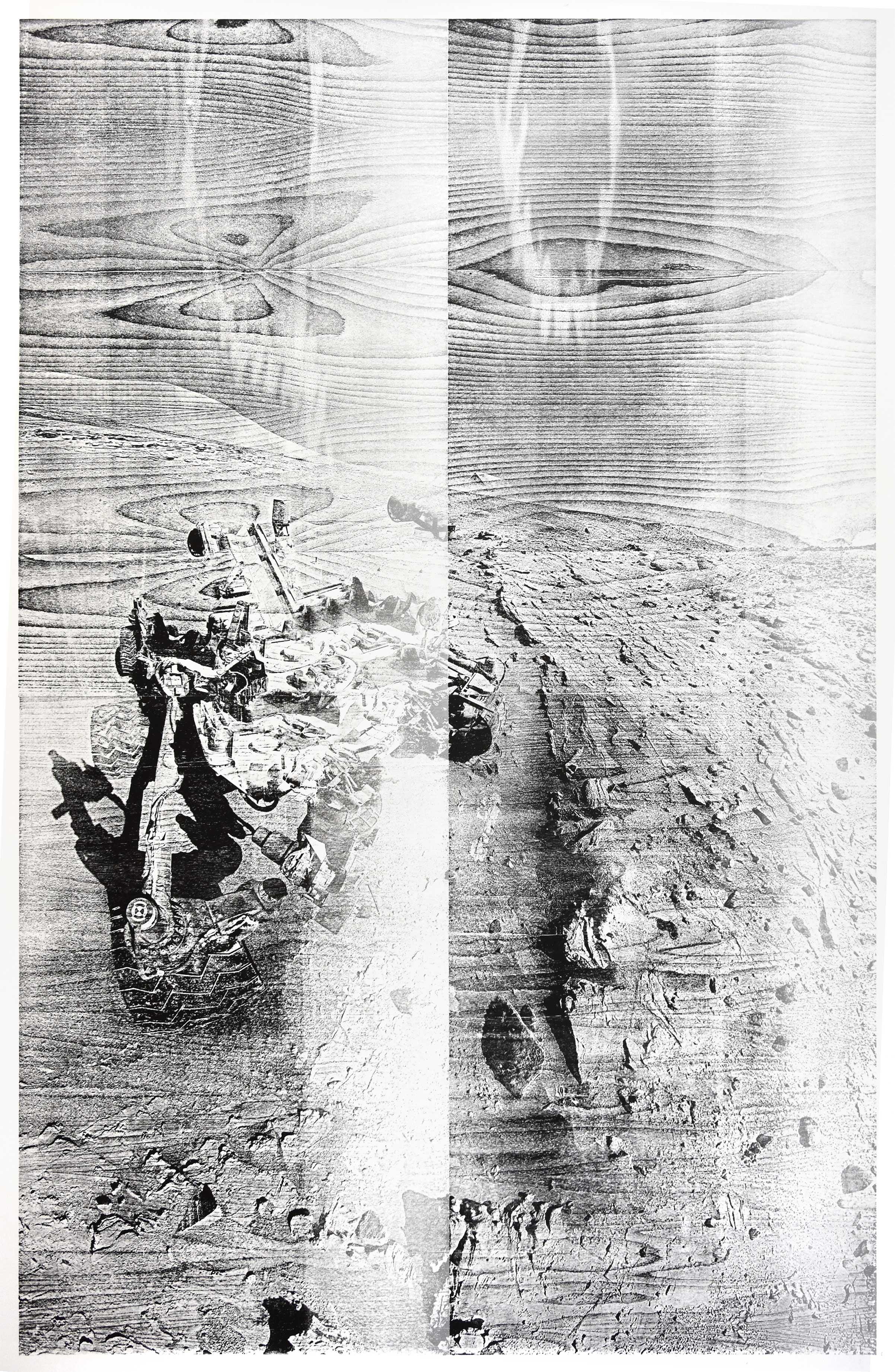 """Windj""; woodcut, laserphotography; 184,2x120,2cm; 2018 Genaro Strobel"