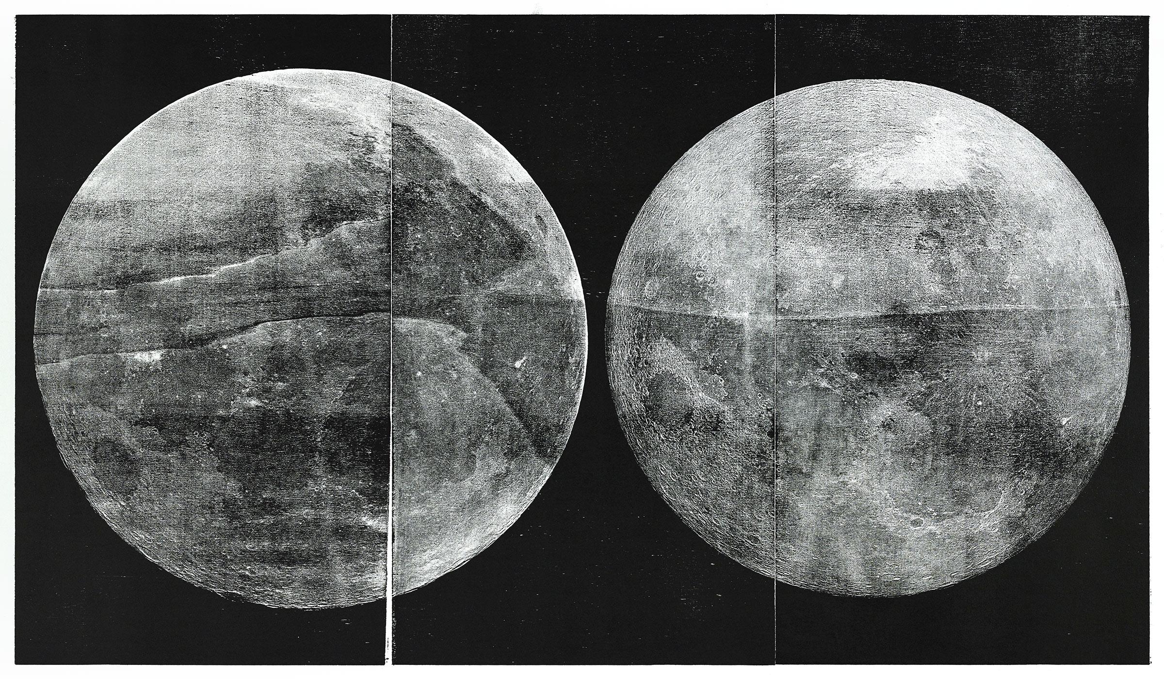 """""""z.A.u.G."""";  woodcut, lasercollage; 70x120cm; 2018 Genaro Strobel"""