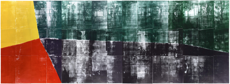 """Farbkreis-1""; woodcut, lasercollage; 272,7x702,3cm; 2019"