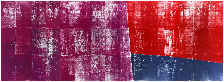 """Farbkreis-2 - Ende""; woocut, lasercollage; 273x702,4cm; 2019"