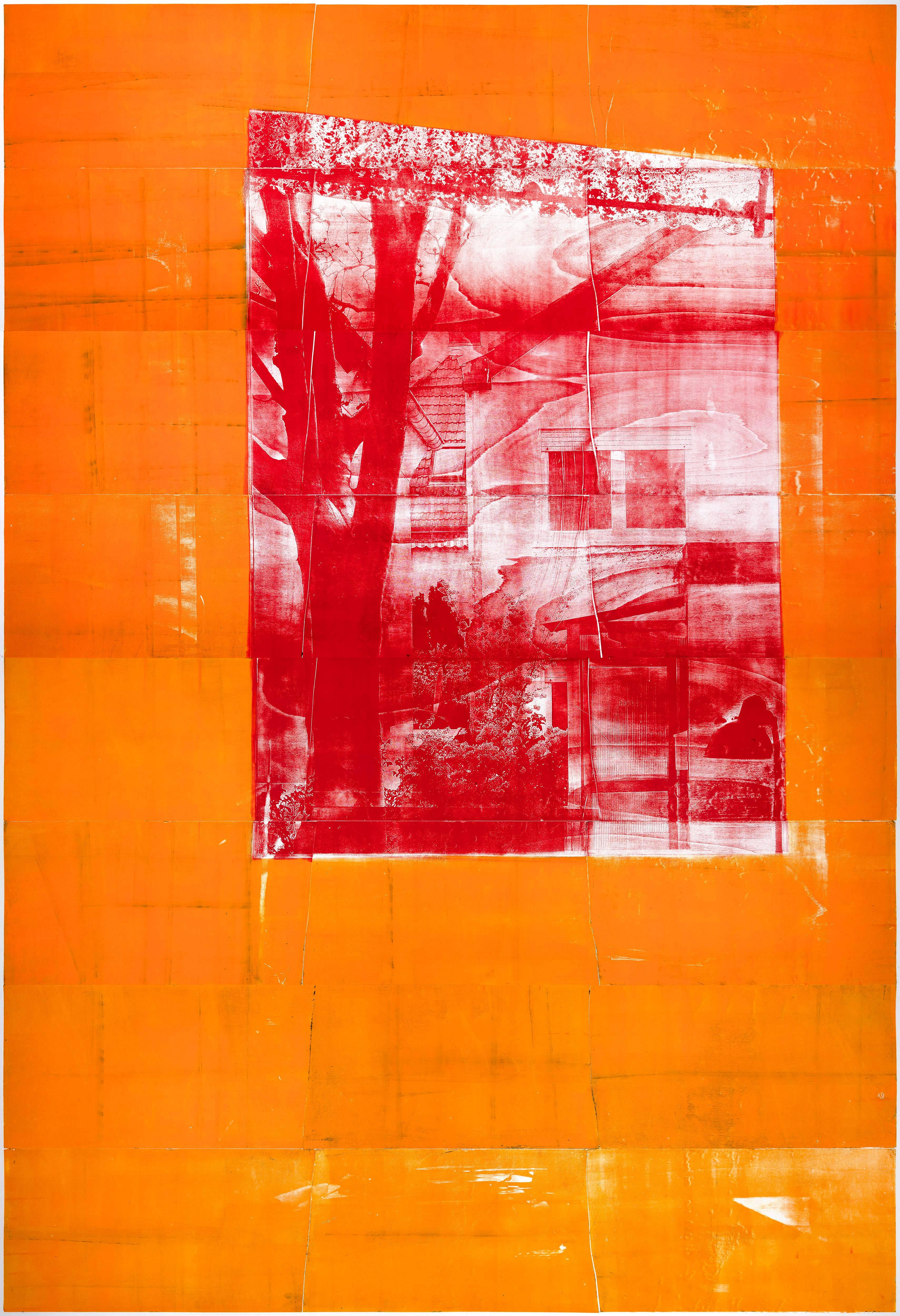 Fenster (Abend), 2019, wood engraving, 382,9 x 272,5 cm, Genaro Strobel