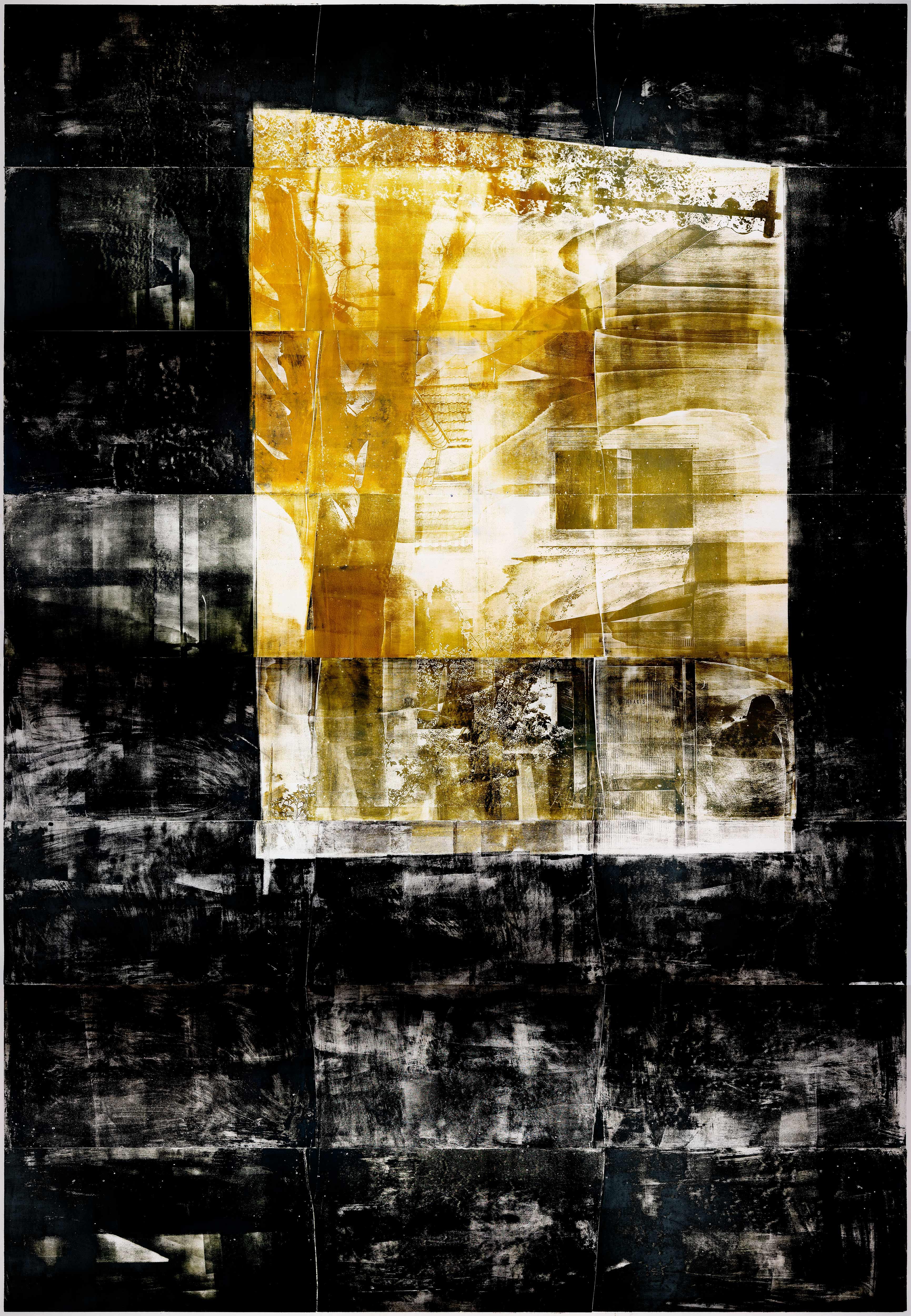 Fenster (Mitternacht), 2019, wood engraving, 384 x 273,1 cm, Genaro Strobel