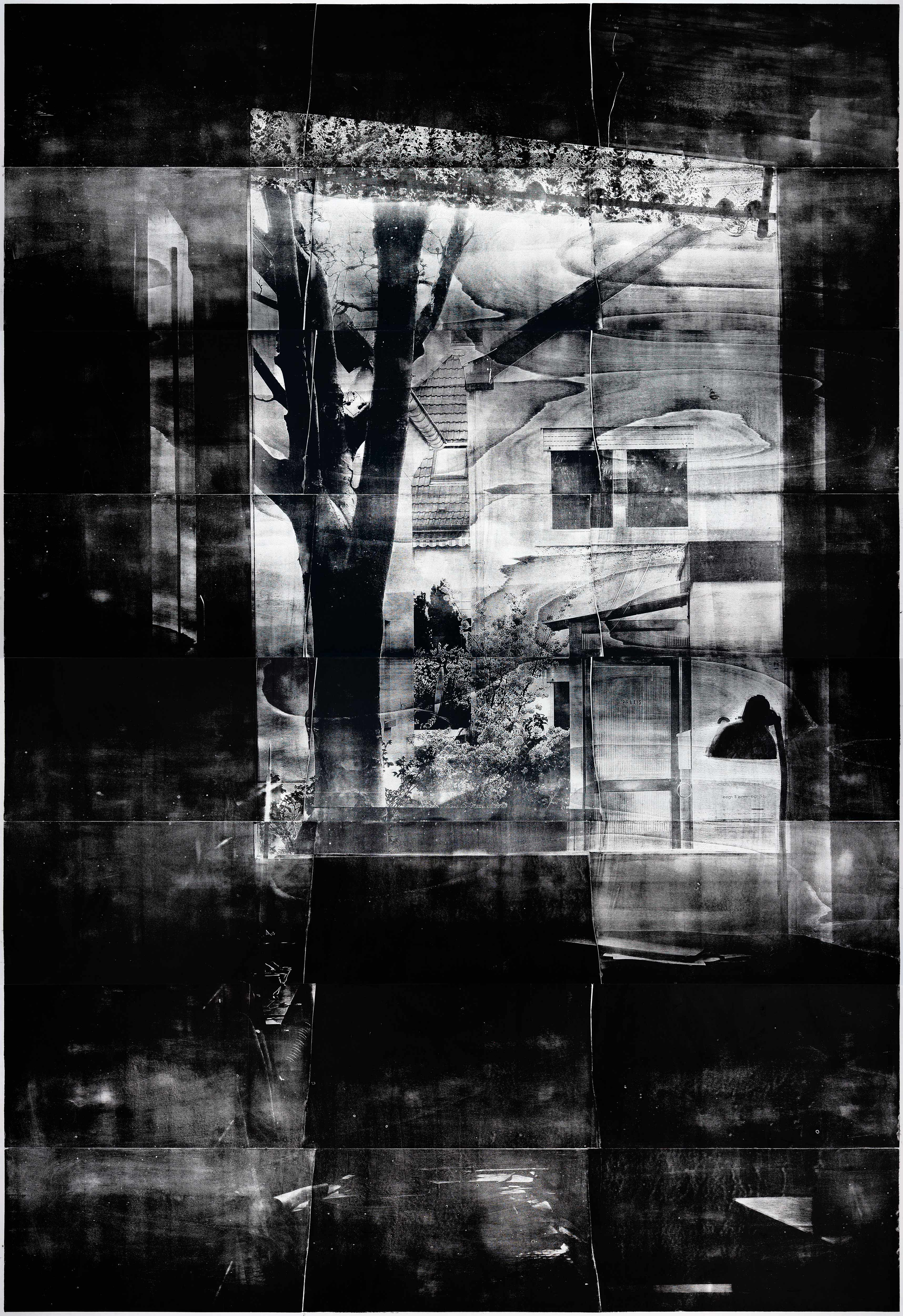 Fenster (Morgen), 2019, wood engraving, 384,4 x 274 cm, Genaro Strobel