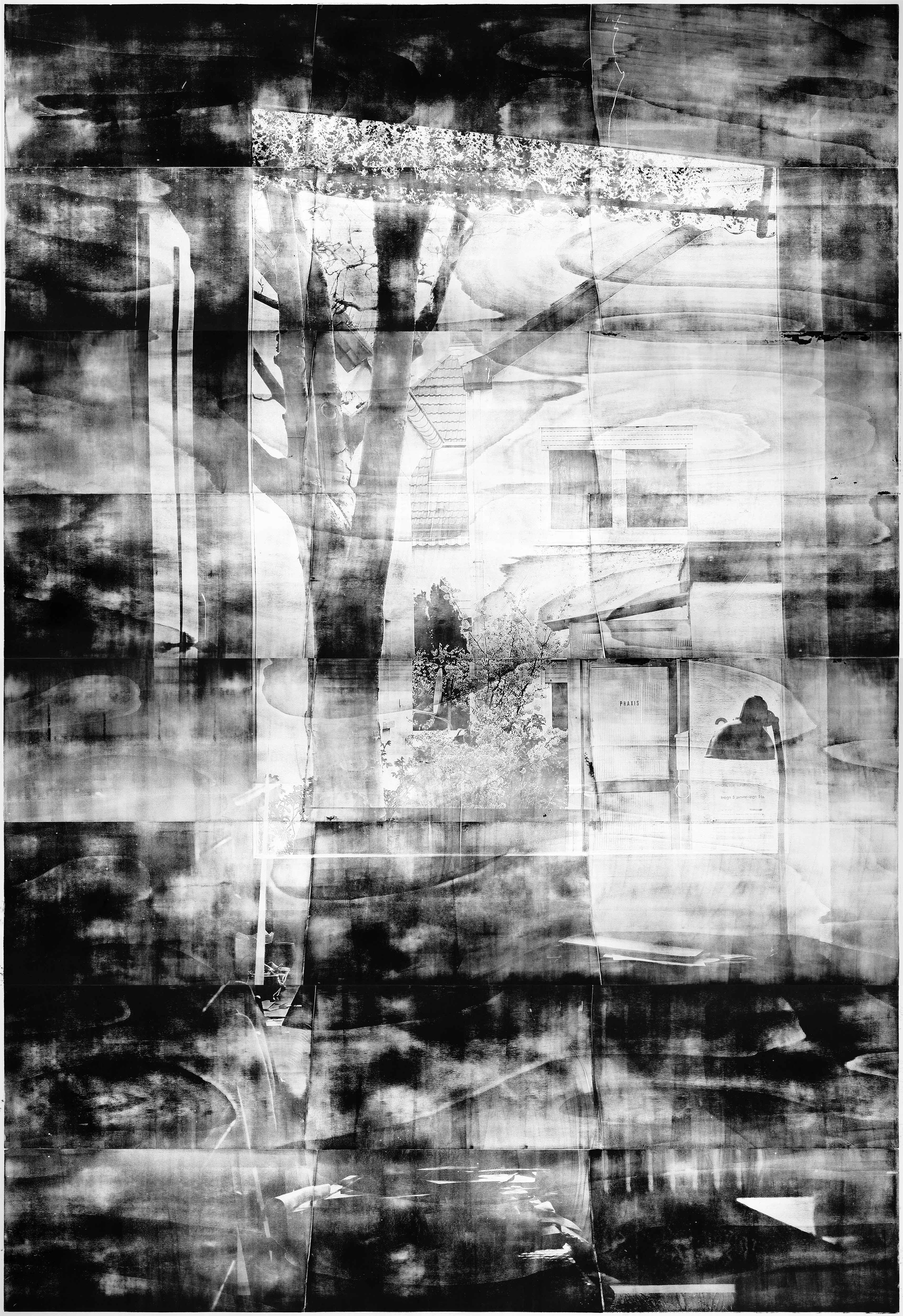 Fenster (Nachmittag), 2019, wood engraving, 382 x 272 cm, Genaro Strobel