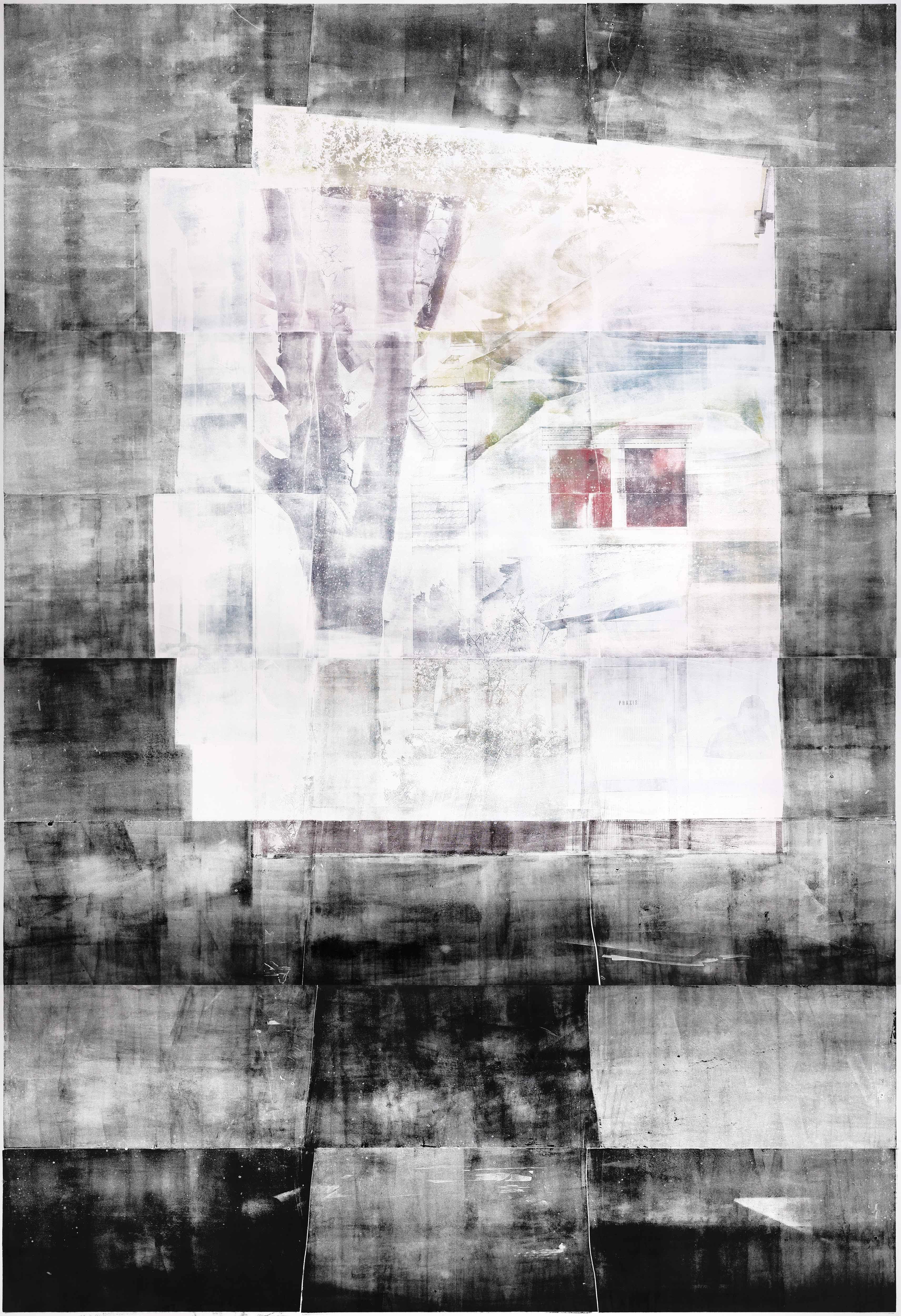 Fenster (Sonnenaufgang), 2019, wood engraving, 383,4 x 272,8 cm, Genaro Strobel