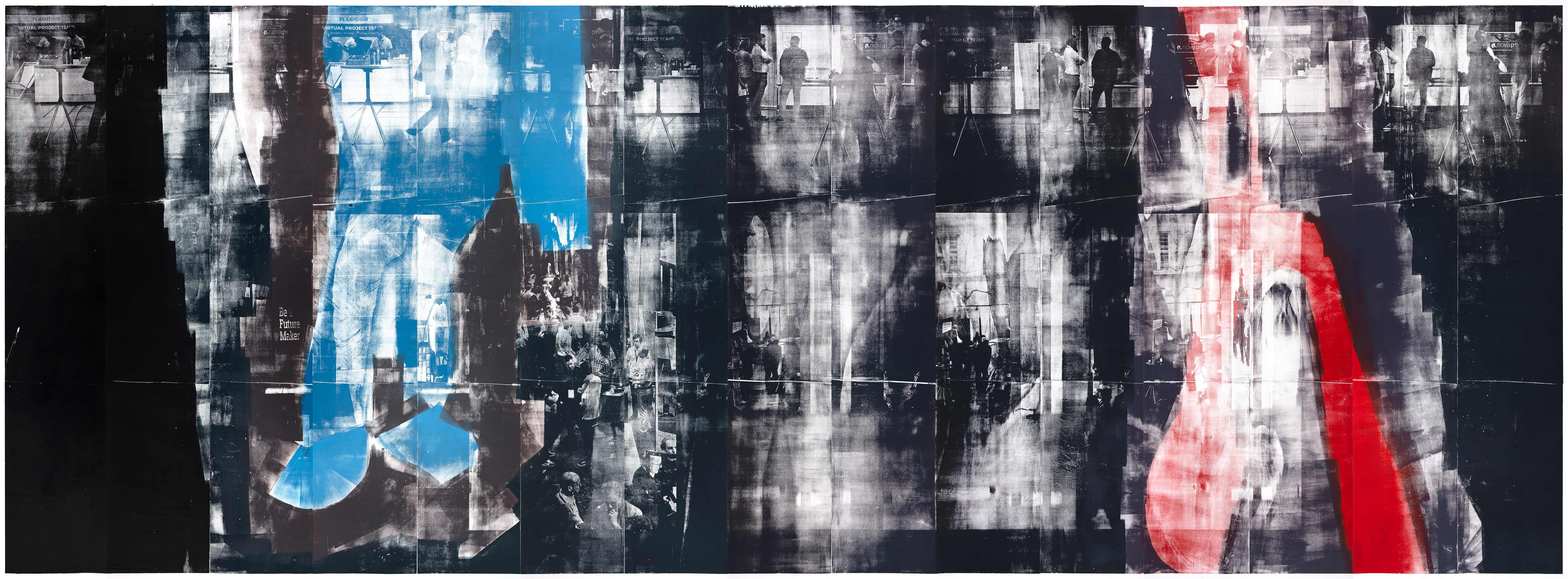 Situation, 2019, wood engraving, 274 x 701 cm, Genaro Strobel Kunstwerk