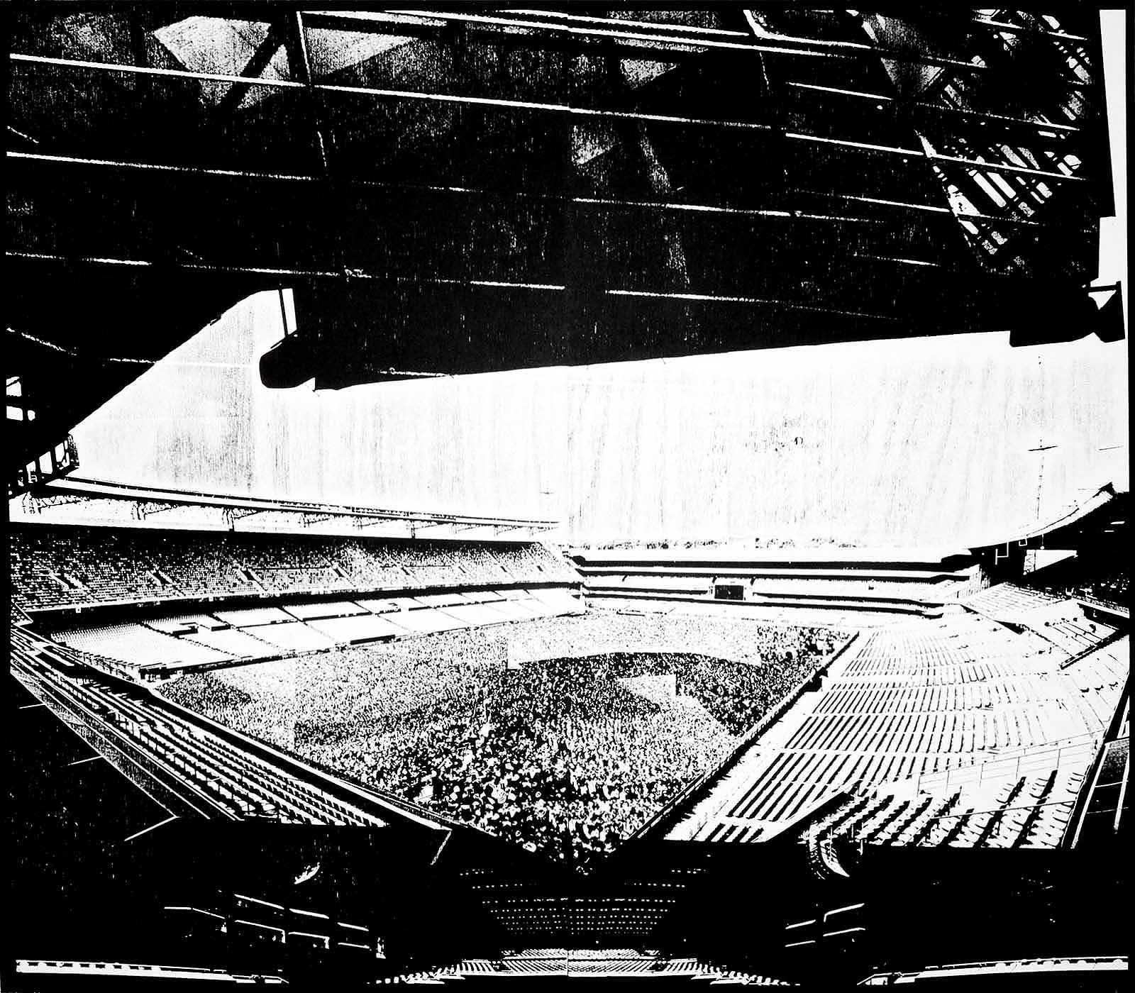 Stadium artwork paper woodcut Pretoria Africa Protagonists