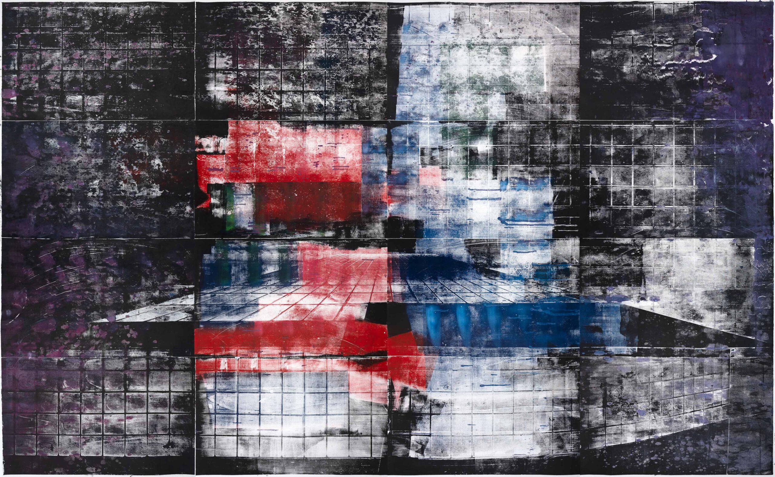 Treppe 1, 2020, wood engraving, 256,5 x 393,4 cm Kunstwerk