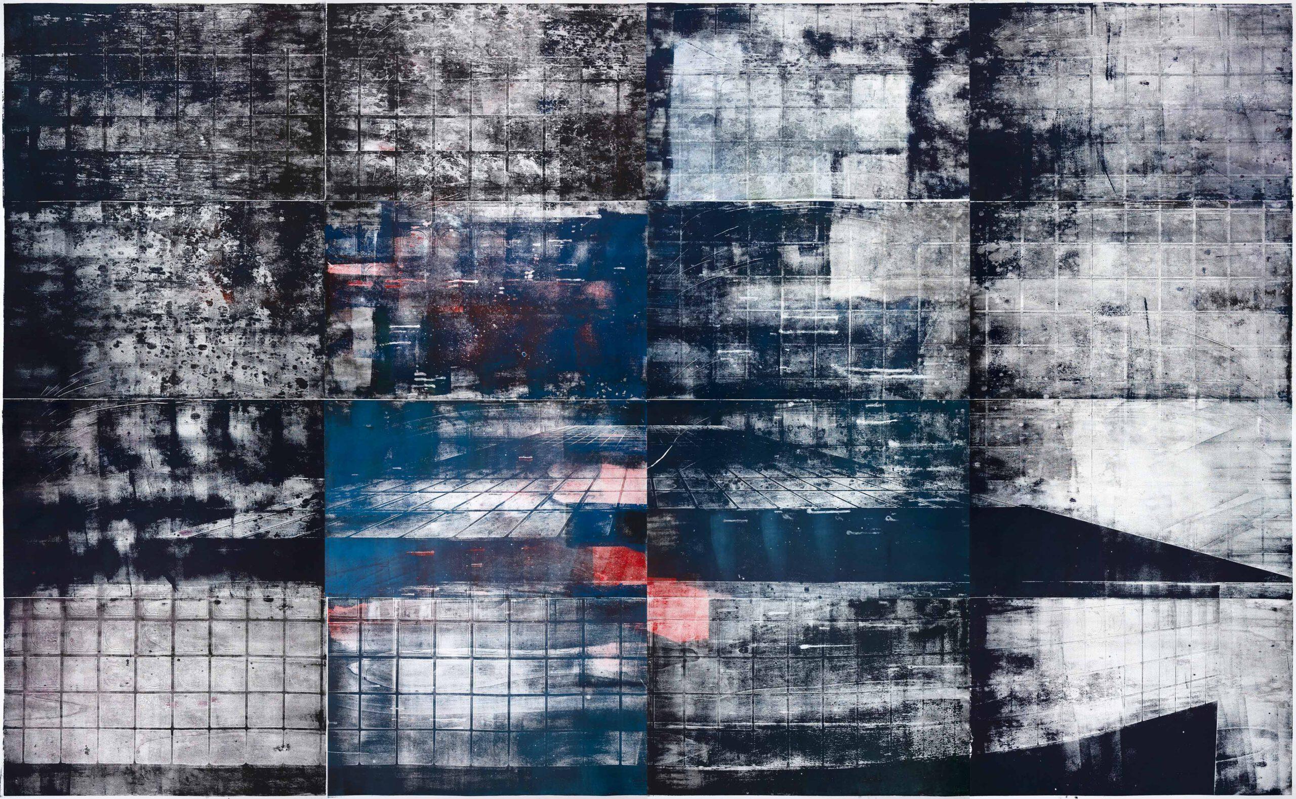 Treppe 2, 2020, wood engraving, 255,7 x 394,1 cm Kunstwerk