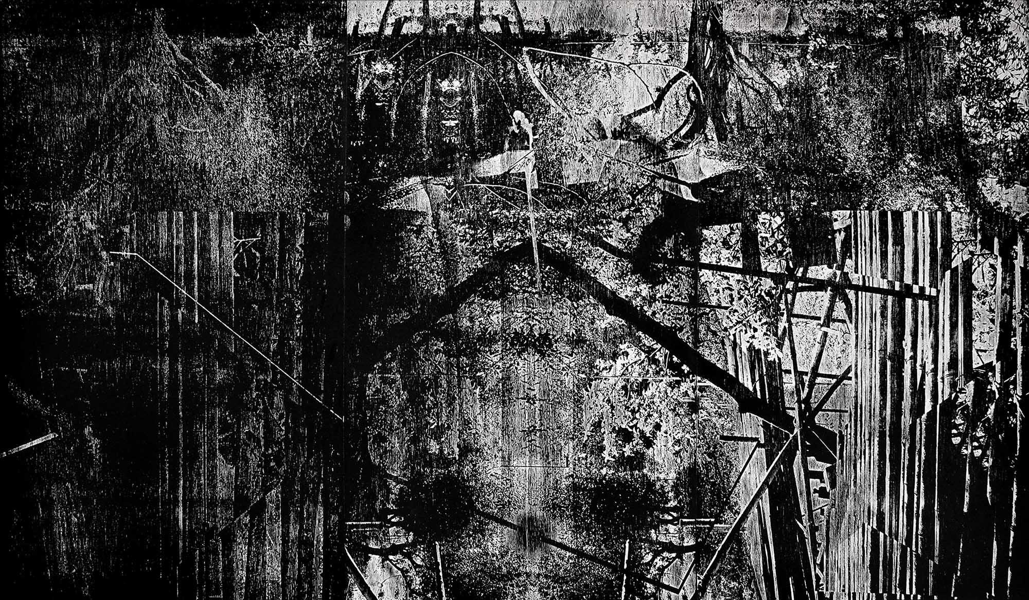 artwork paper woodcut l'amour et la violence Sebastian Tellier Bamboo Treehouse Villa Romana Florence