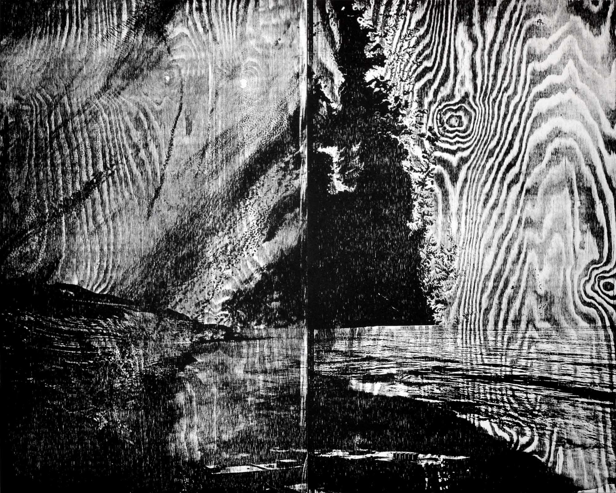 artwork paper woodcut shutter beach California Californian