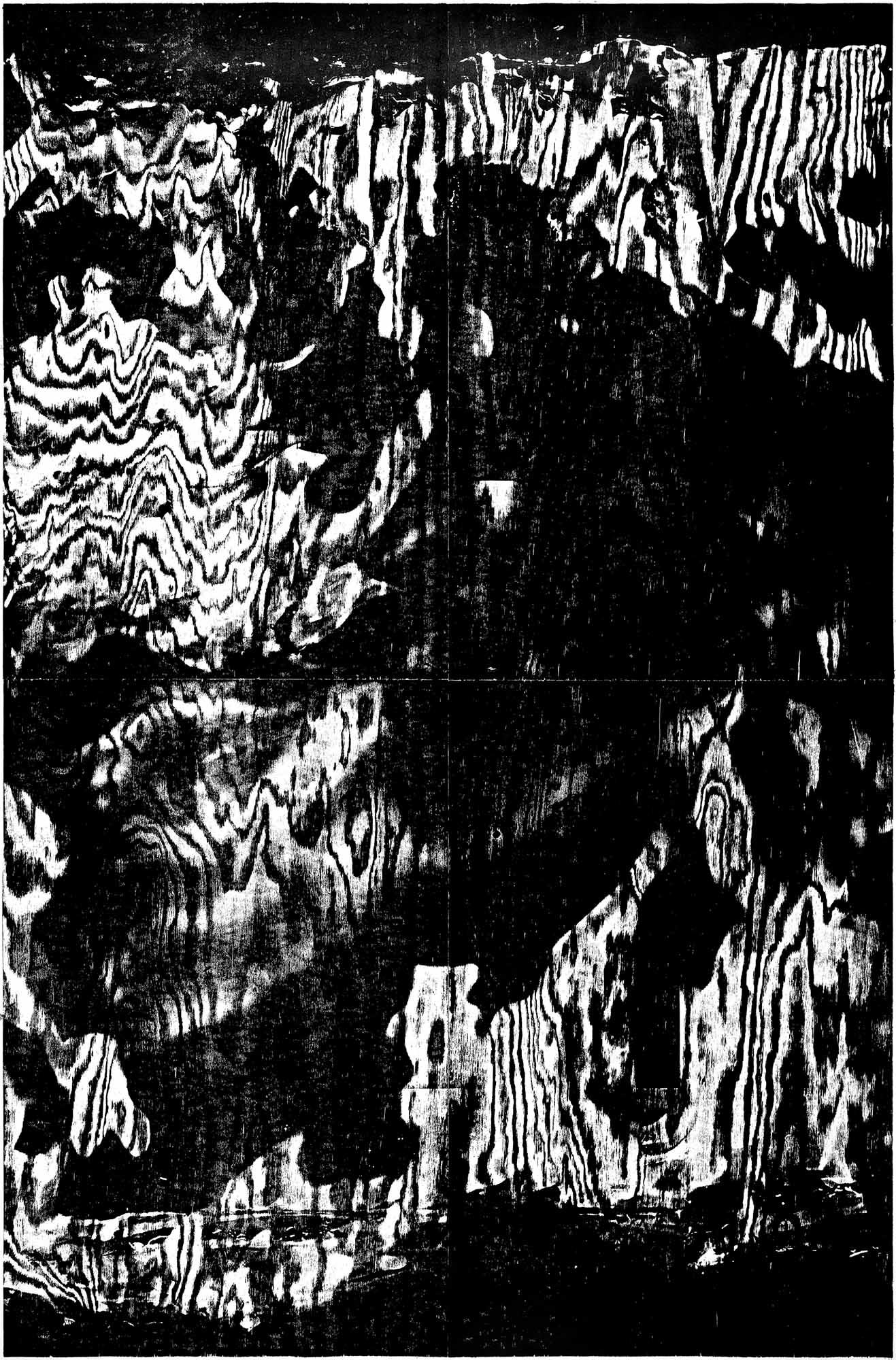 Flammen, 2020, 183,5 x 121 cm, Holzgravur (Kiefer), Auflage 14 + 4 AP Edition Kunsthalle Darmstadt