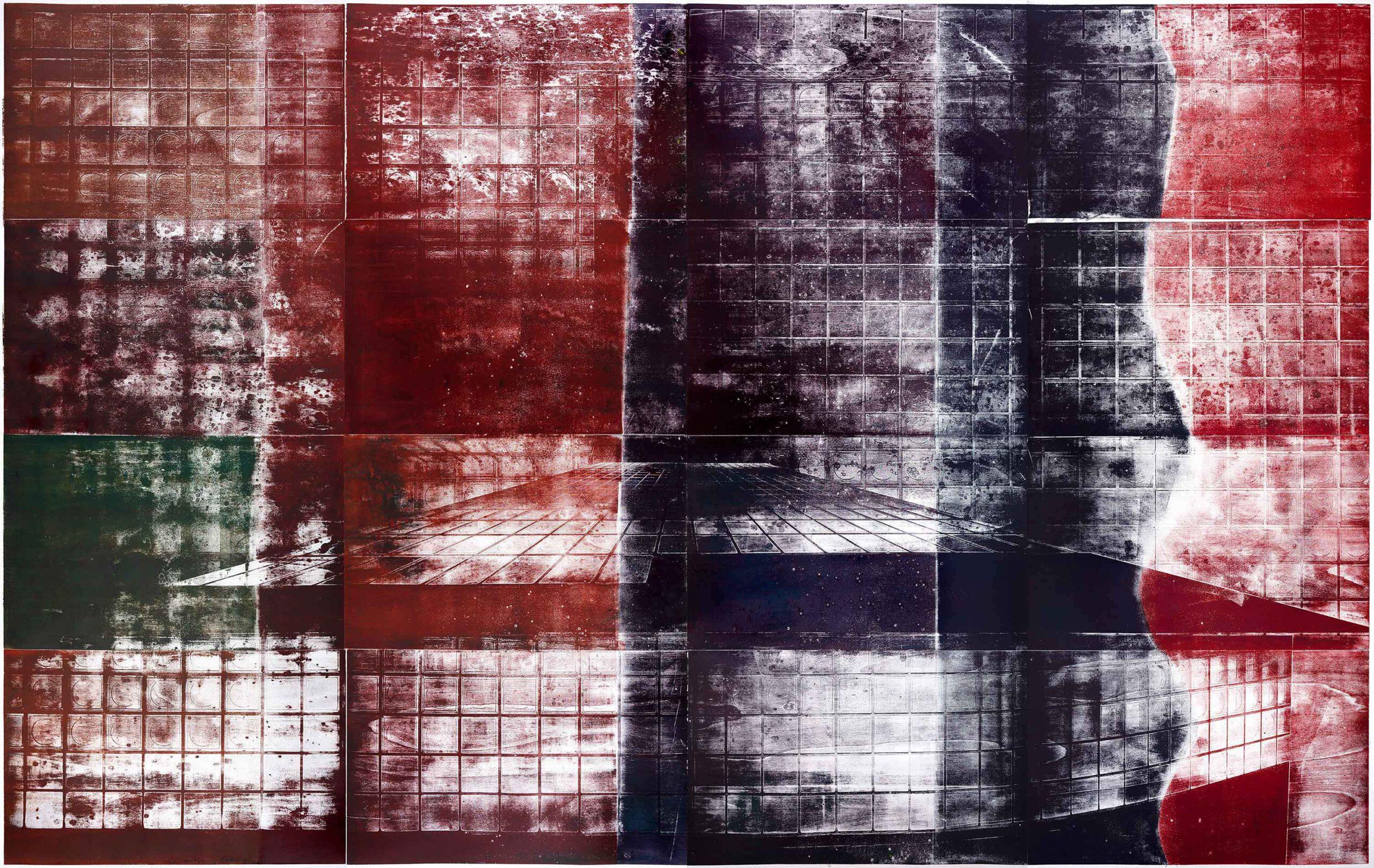 Farben (der Gewalt), 2020, wood engraving, 252,5 x 391,4 cm