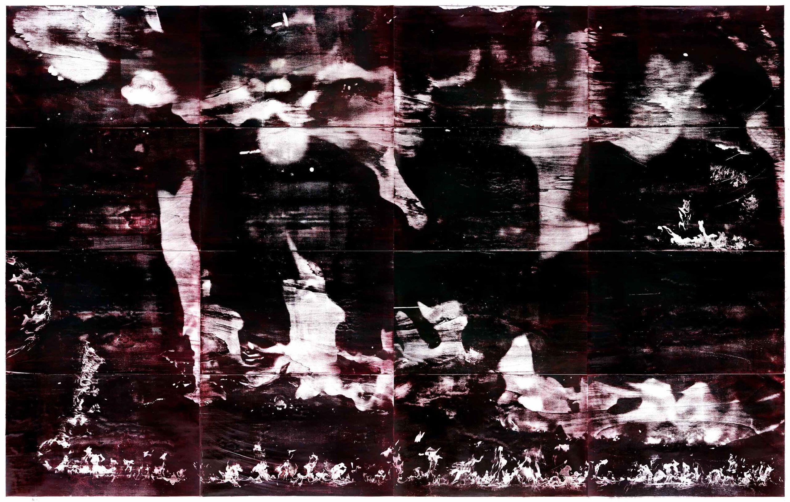 Flammen (r), 2020, wood engraving, 254 x 396 cm