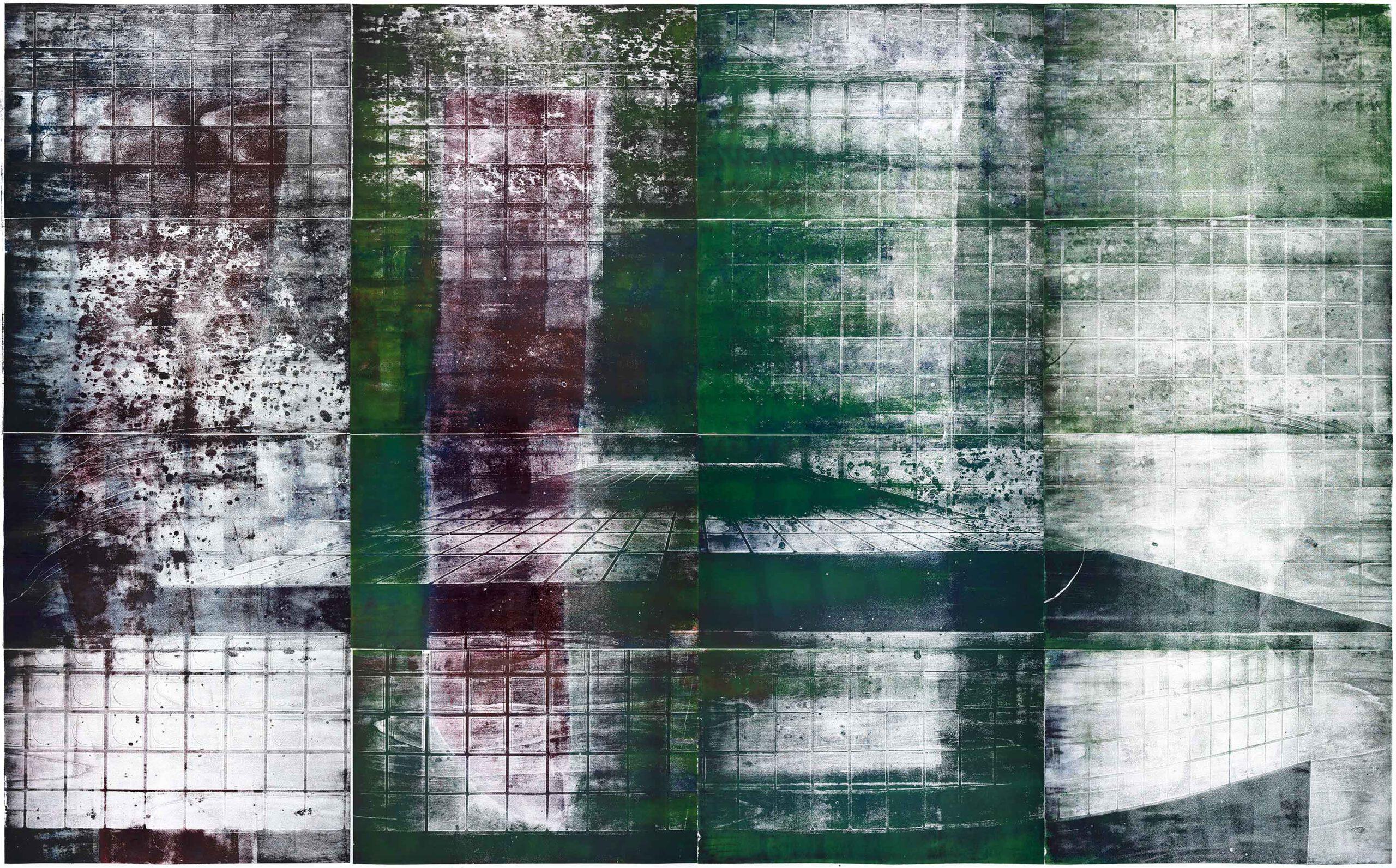 Hängende Gärten, wood engraving, 252,5 x 391,4 cm, 2020
