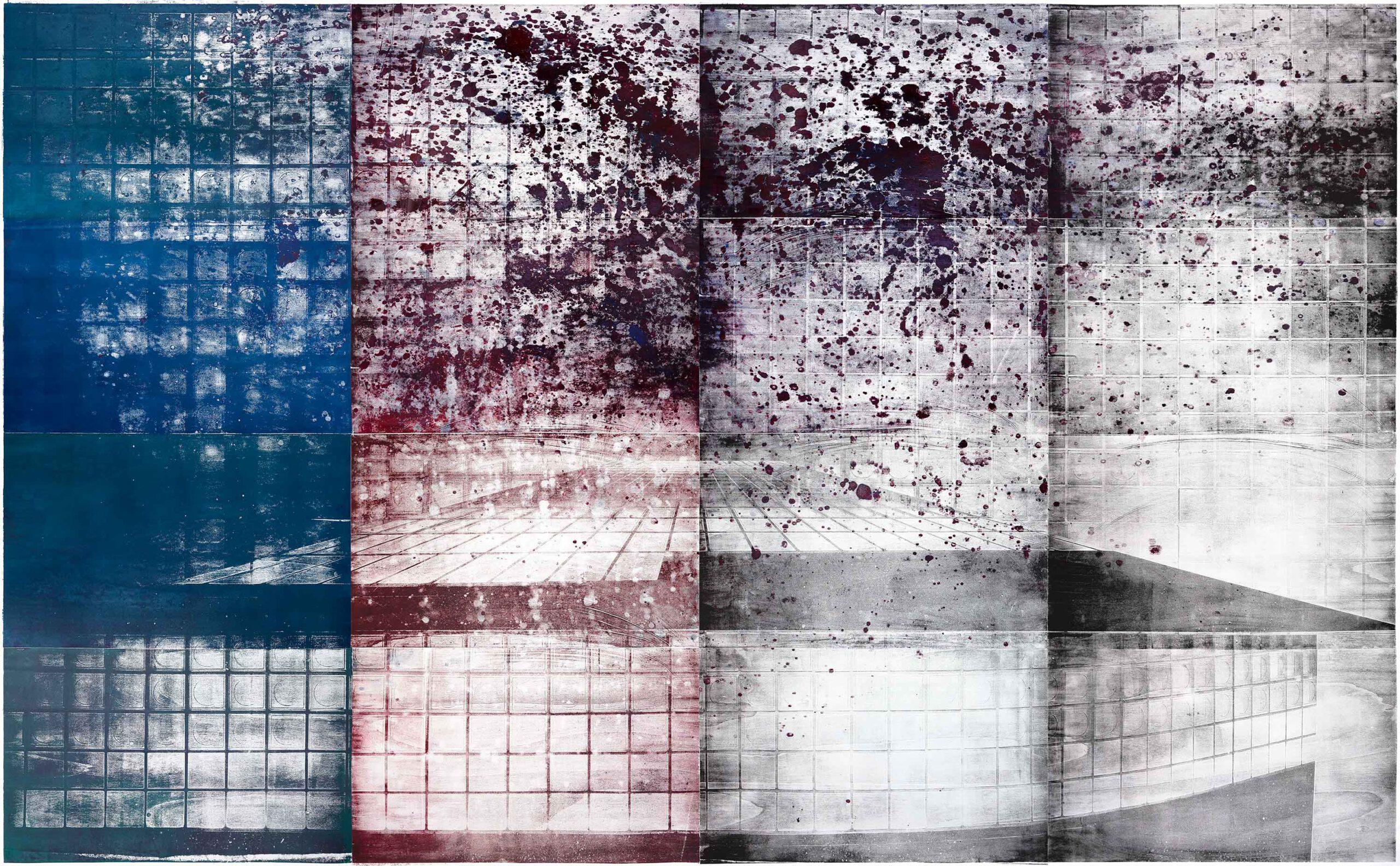 Unendlichkeitswand 2 (pool laroc), 2020, wood engraving, 251 x 391,9cm