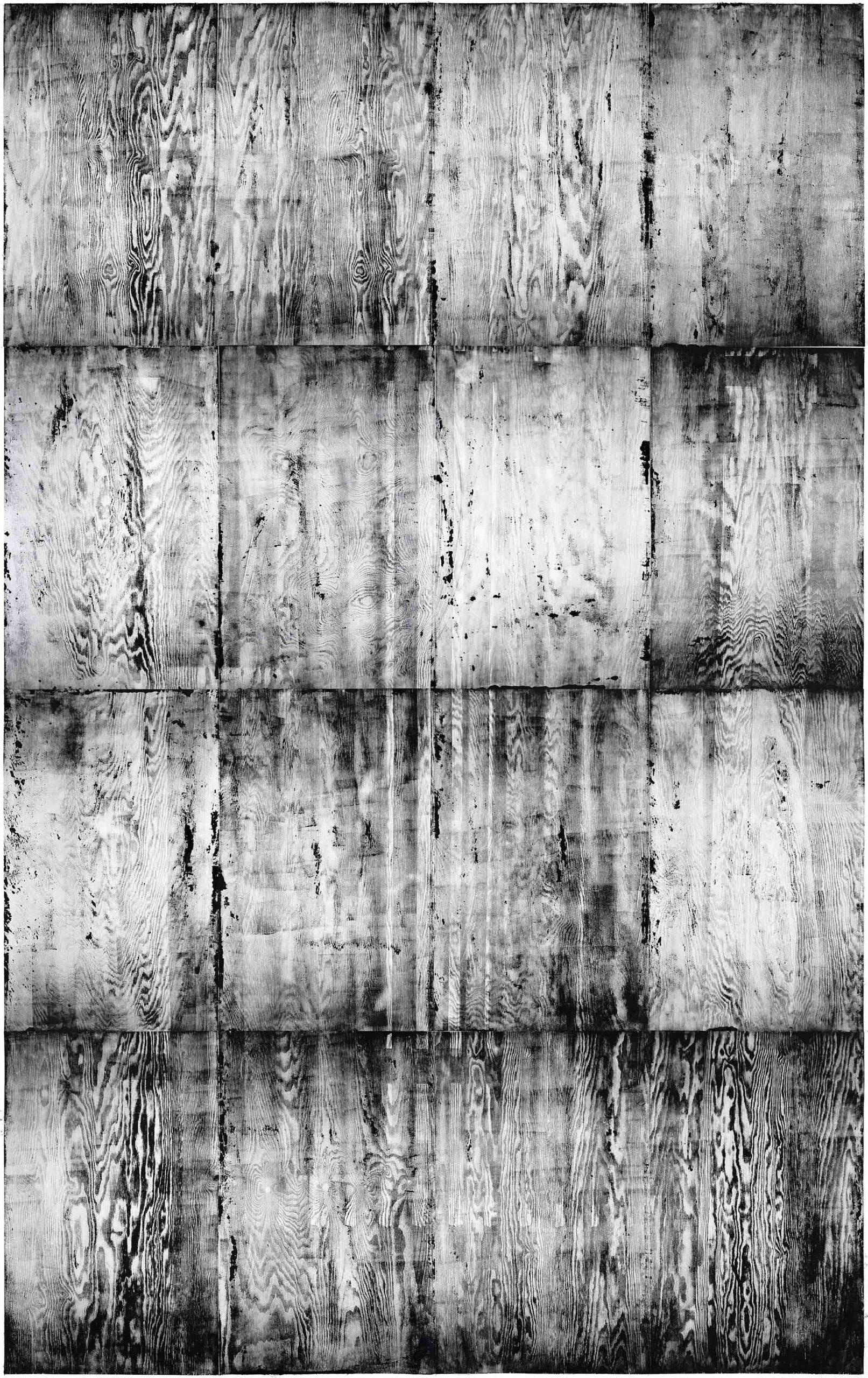 Heating 1, 2020, wood engraving, 402,5 x 260 cm, Genaro Strobel