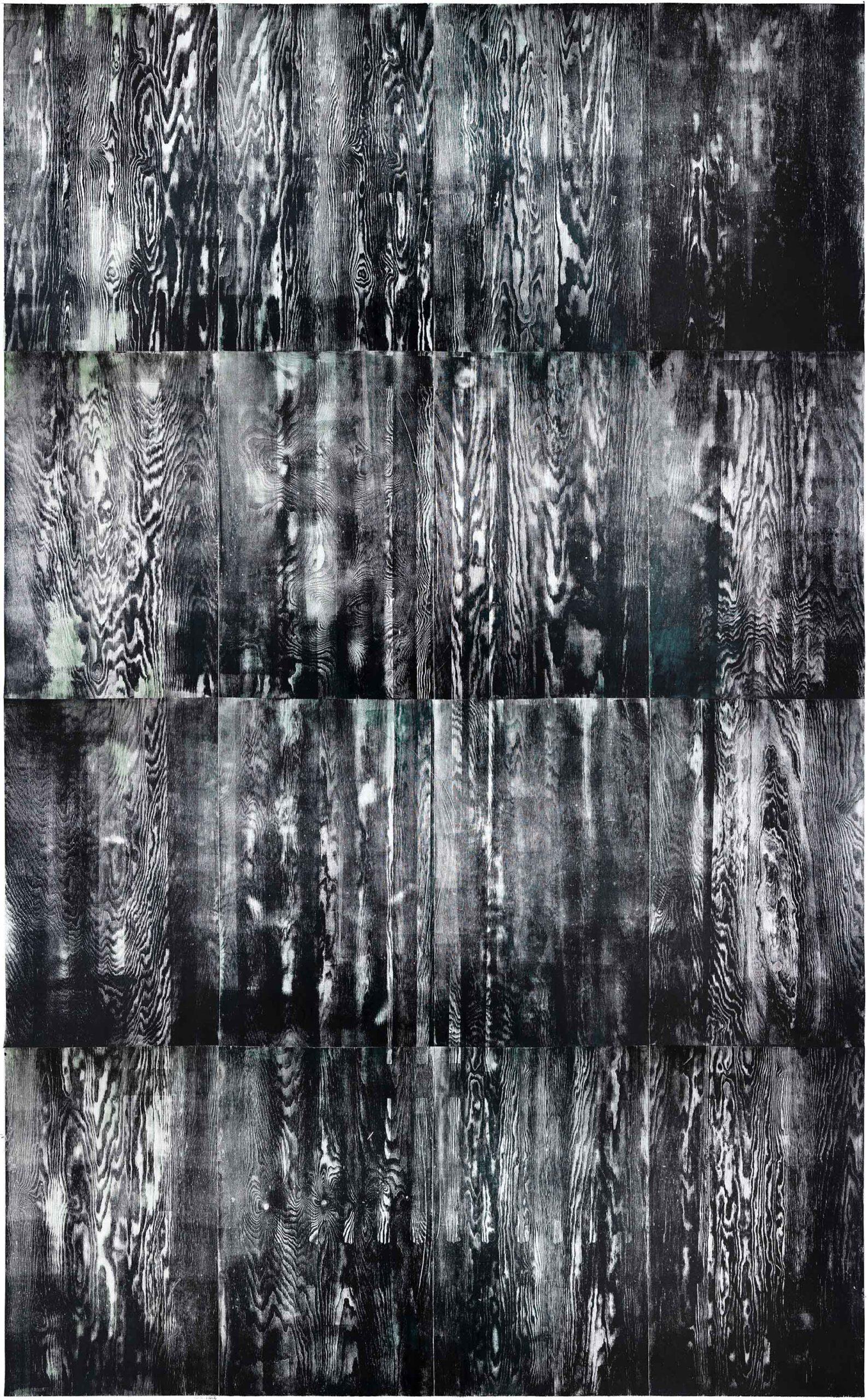 Heating 2, 2020, wood engraving, 408 x 257,3 cm, Genaro Strobel
