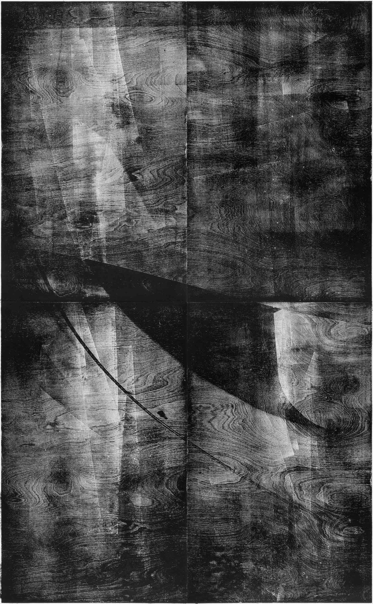 Segel 1, 2020, wood engraving, 207,7 x 132,3 cm, Genaro Strobel