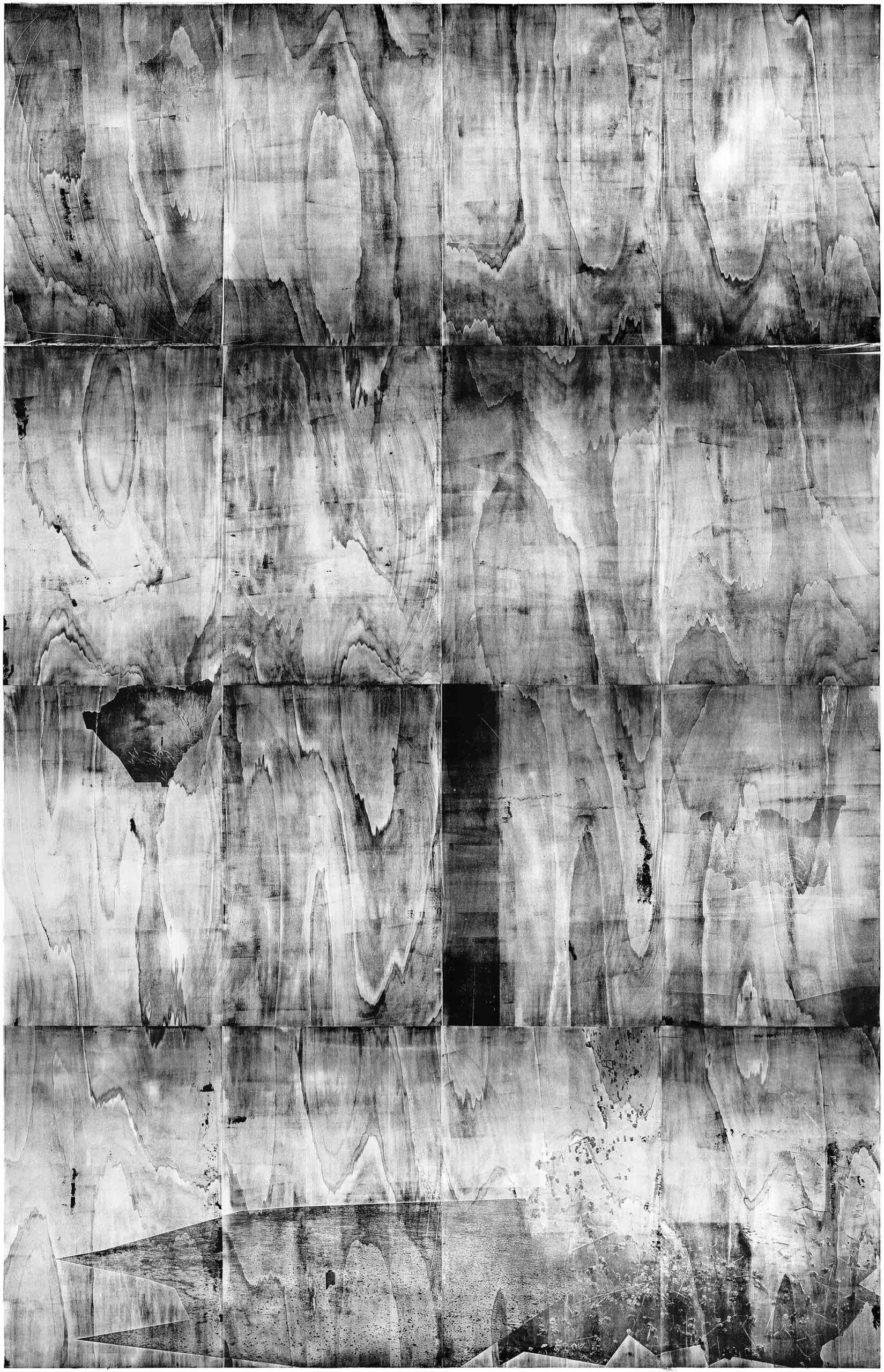 Swim in the water and see the sky, 2020, wood engraving, 393,2 x 260,1 cm, Genaro Strobel