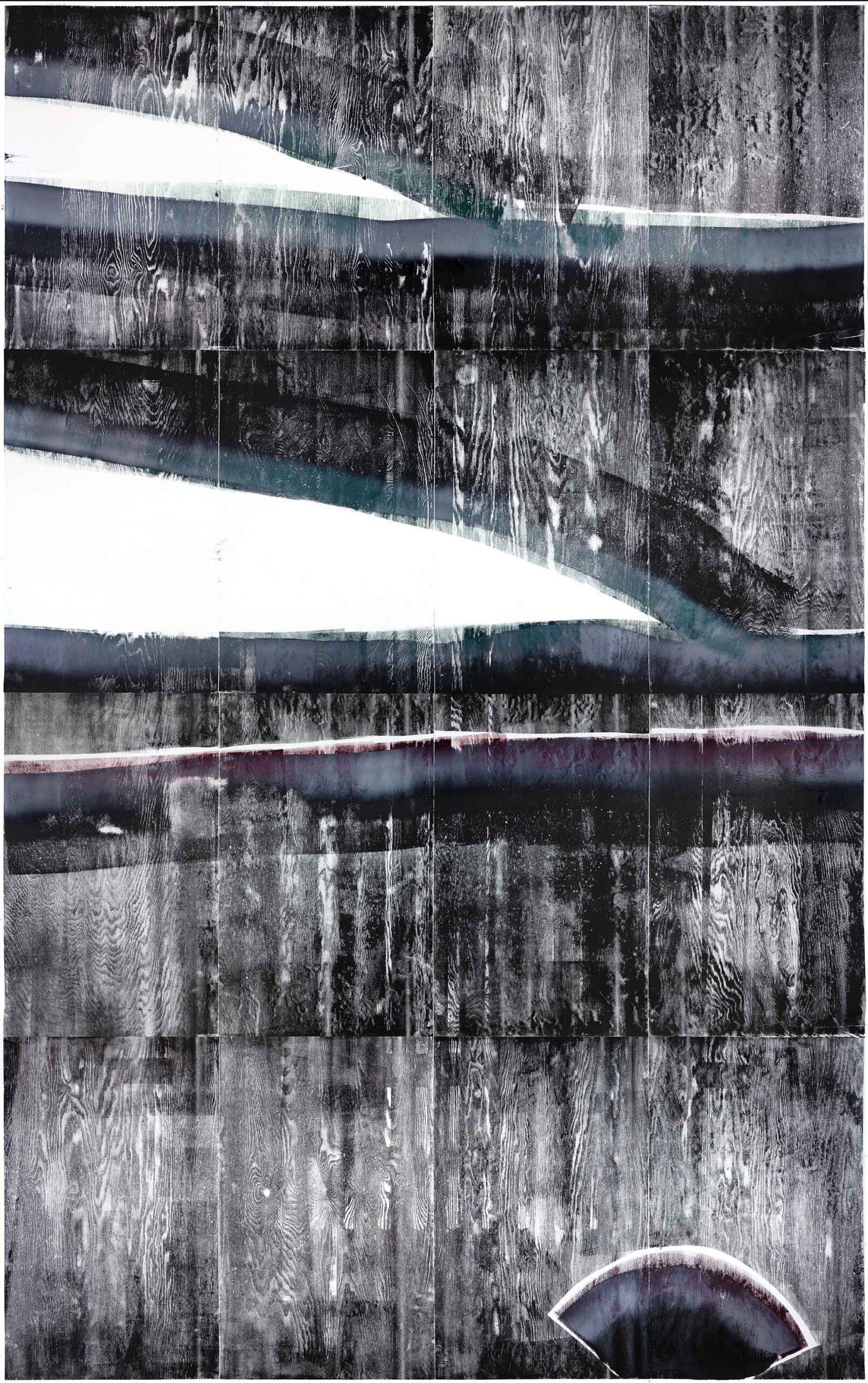 Eintretende Aussparung der Zeit 2, 2020, wood engraving, 403,9 x 259,8 cm, Genaro Strobel