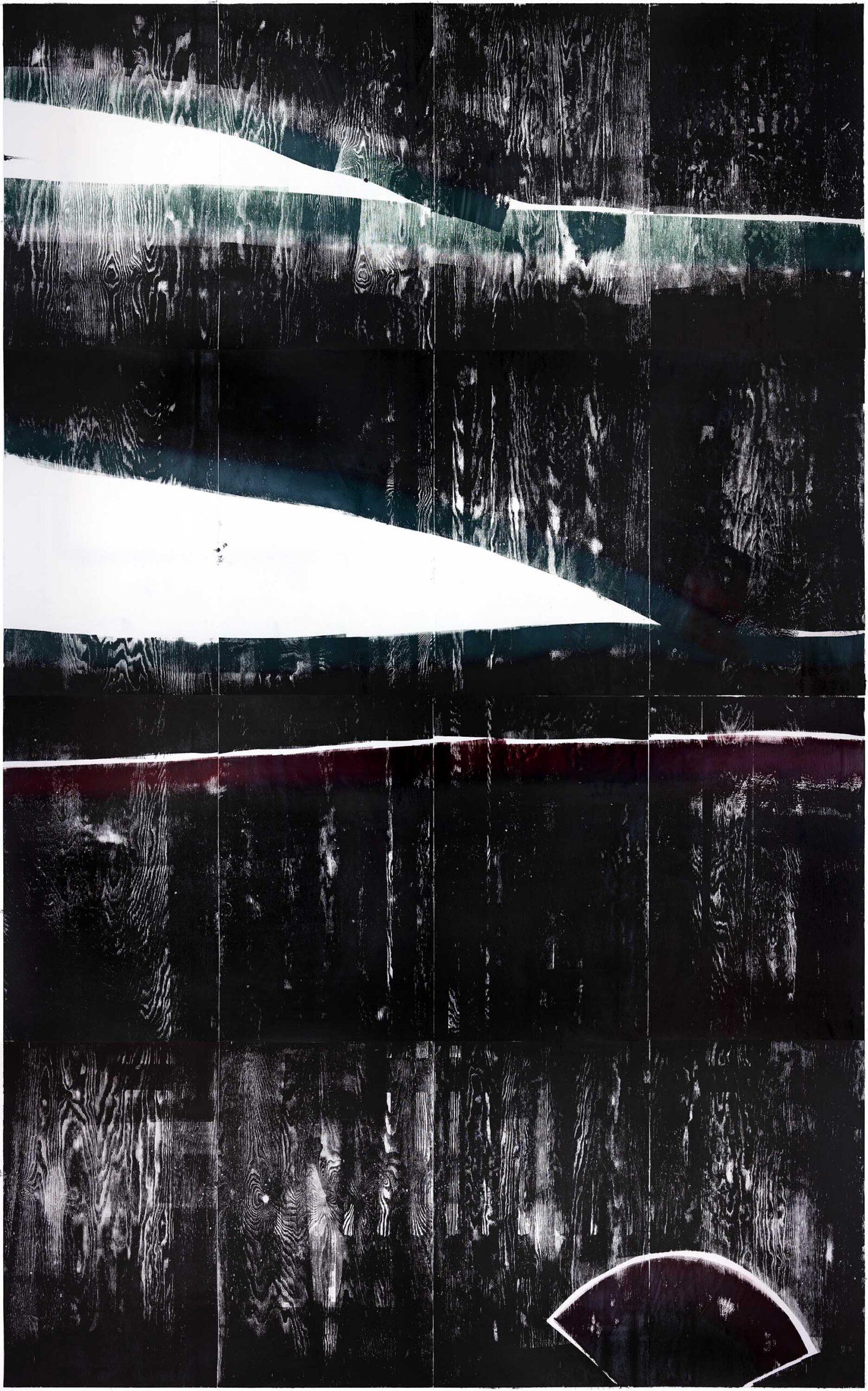 Eintretende Aussparung der Zeit 1, 2020, wood engraving, 405,5 x 260,2 cm, Genaro Strobel
