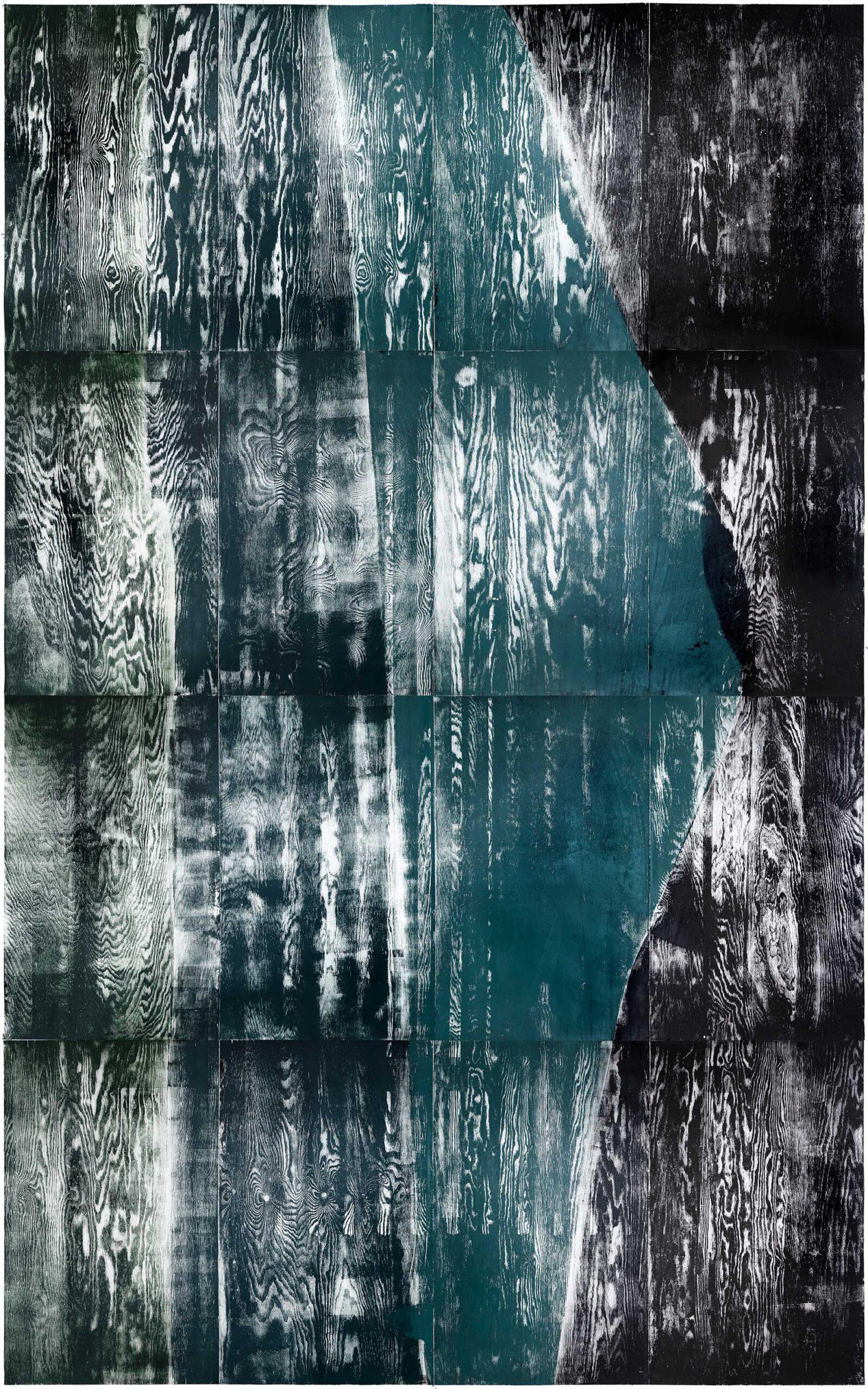 Grünfall, 2020, wood engraving, 402,4 x 258,3 cm, Genaro Strobel